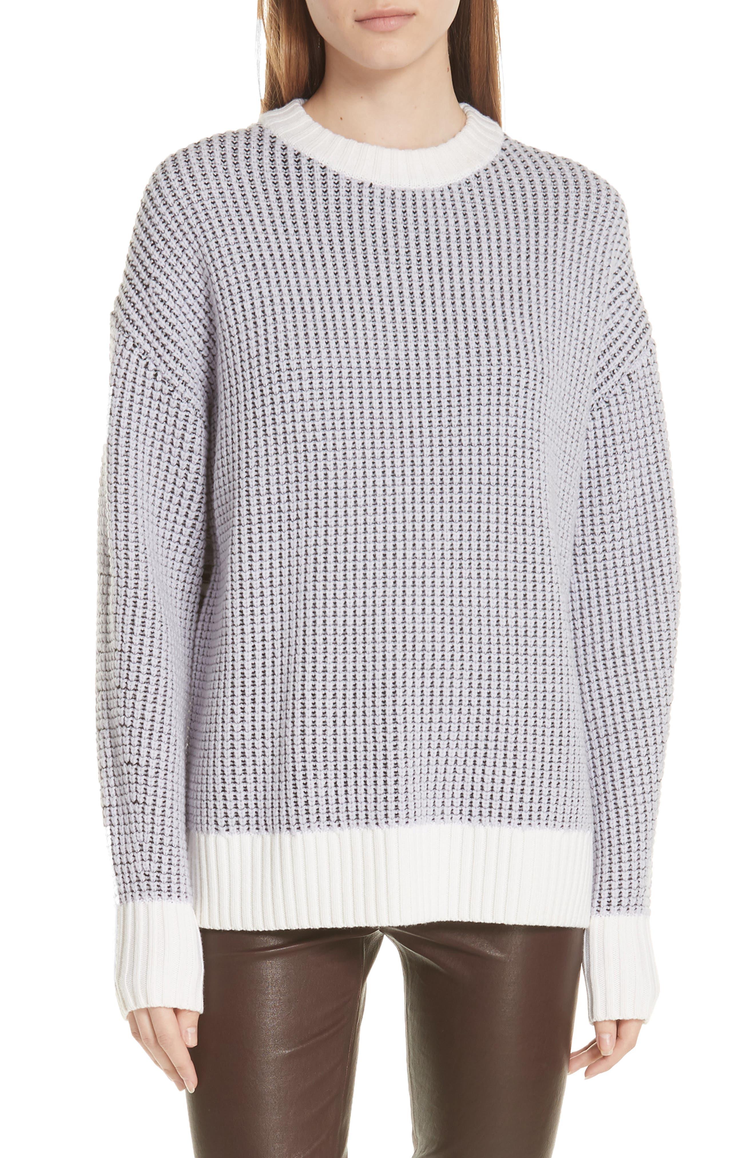 Grey Jason Wu Fair Isle Back Merino Wool Sweater, Purple