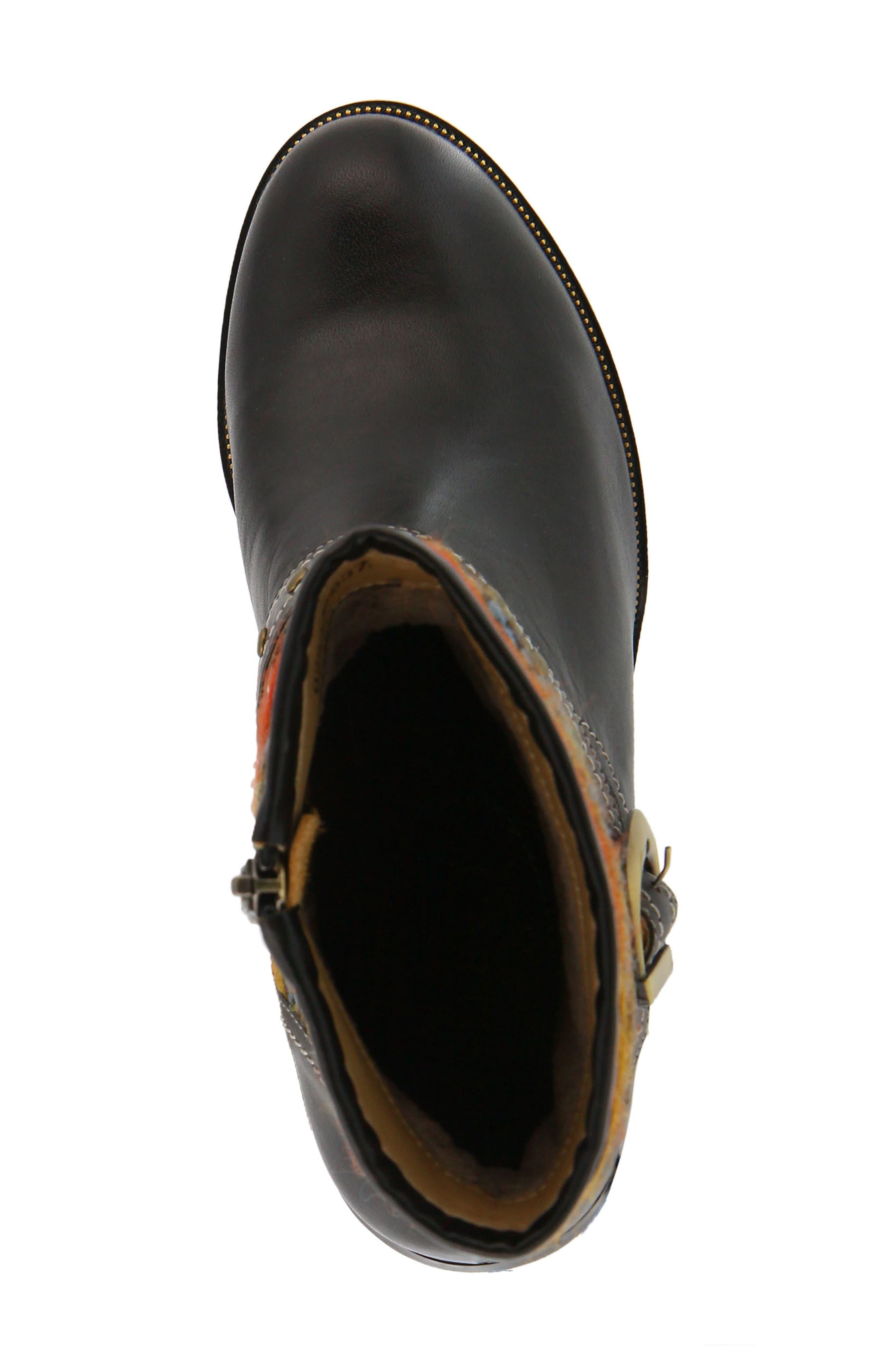 L'Artiste Gaetana Boot,                             Alternate thumbnail 4, color,                             BLACK LEATHER