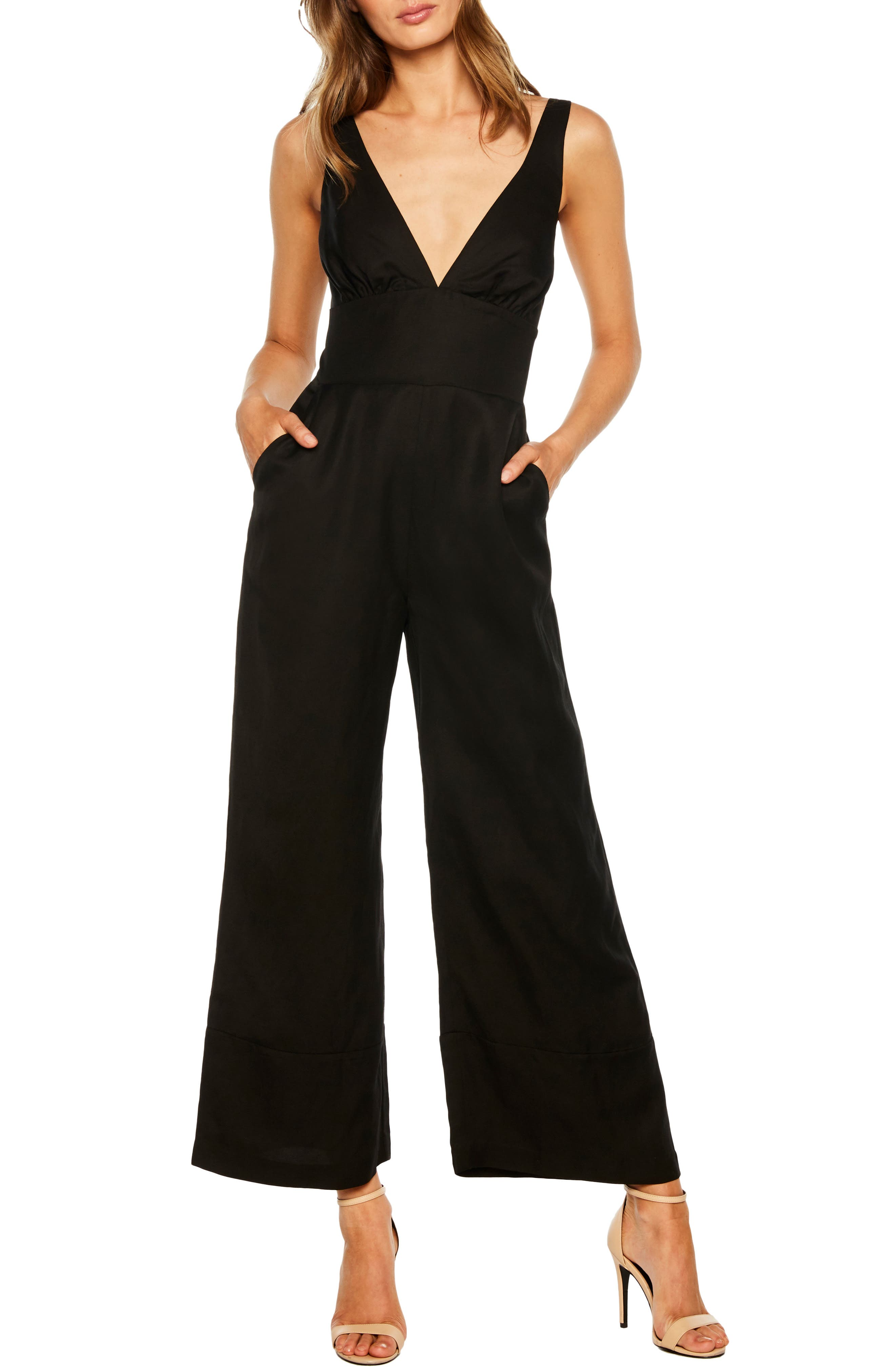 BARDOT Lola Plunging Wide Leg Jumpsuit, Main, color, BLACK