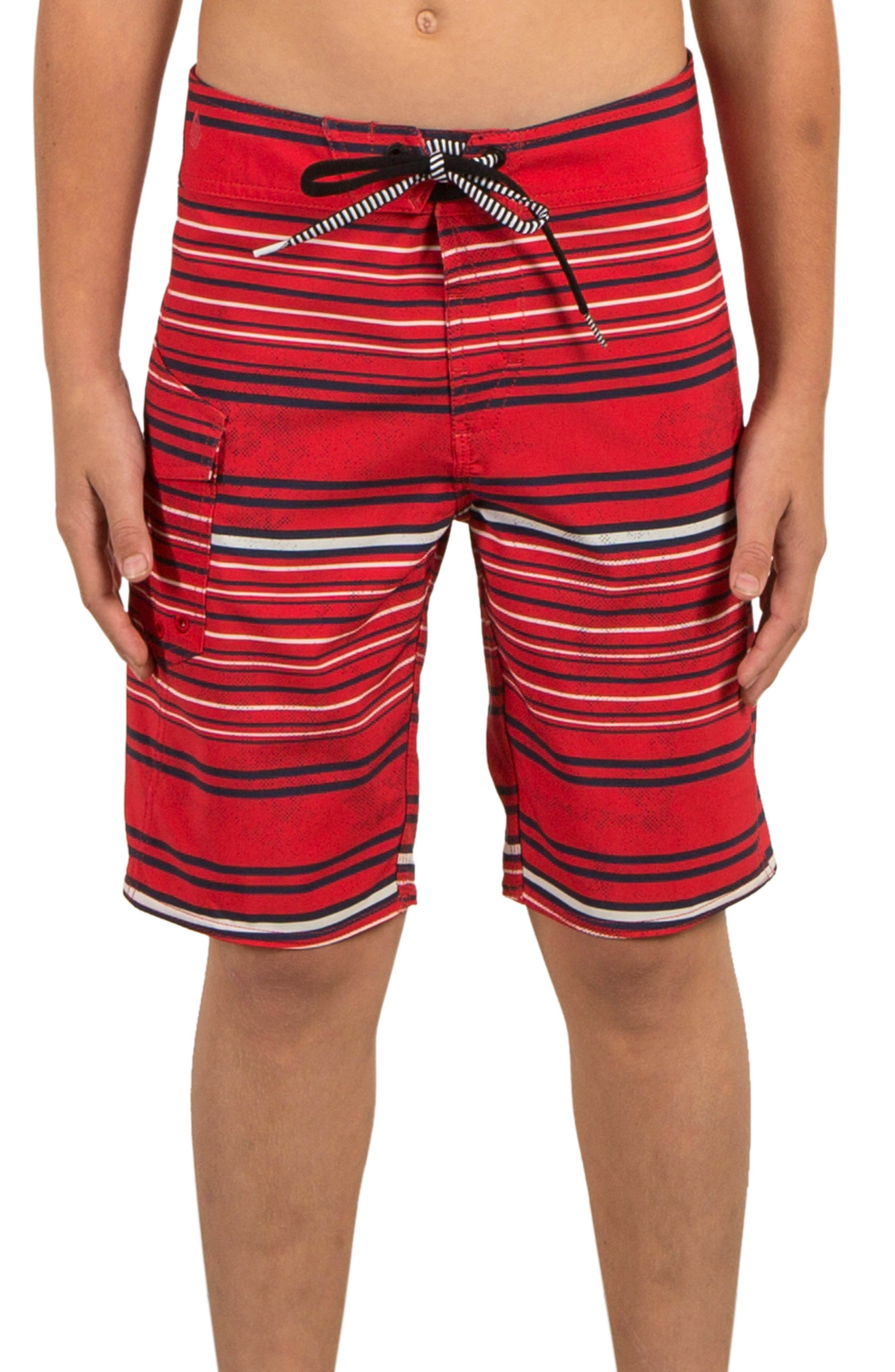 Magnetic Liney Board Shorts,                             Main thumbnail 1, color,                             TRUE RED