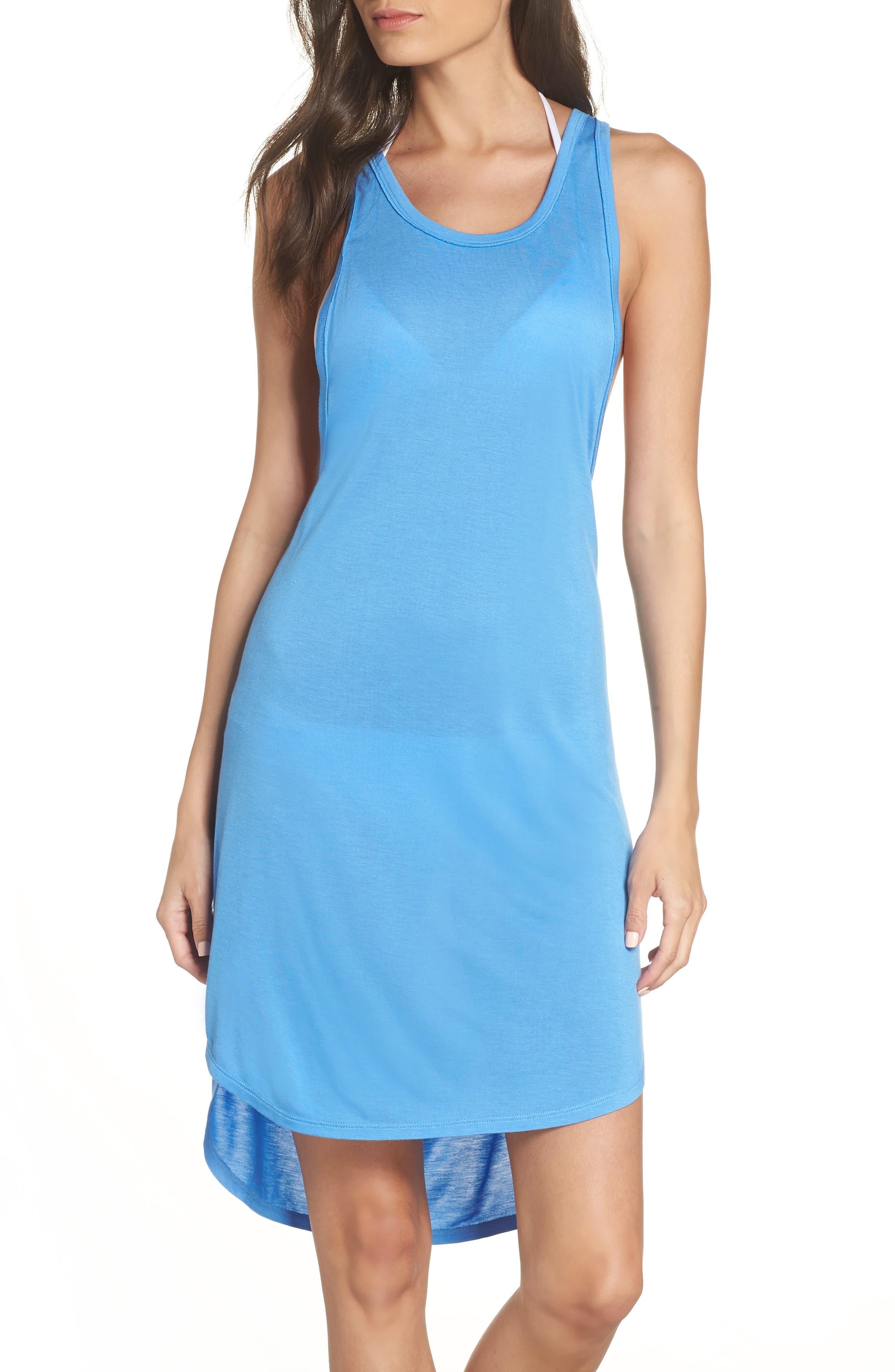 Racerback Cover-Up Tank Dress,                         Main,                         color, BLUE LAPIS