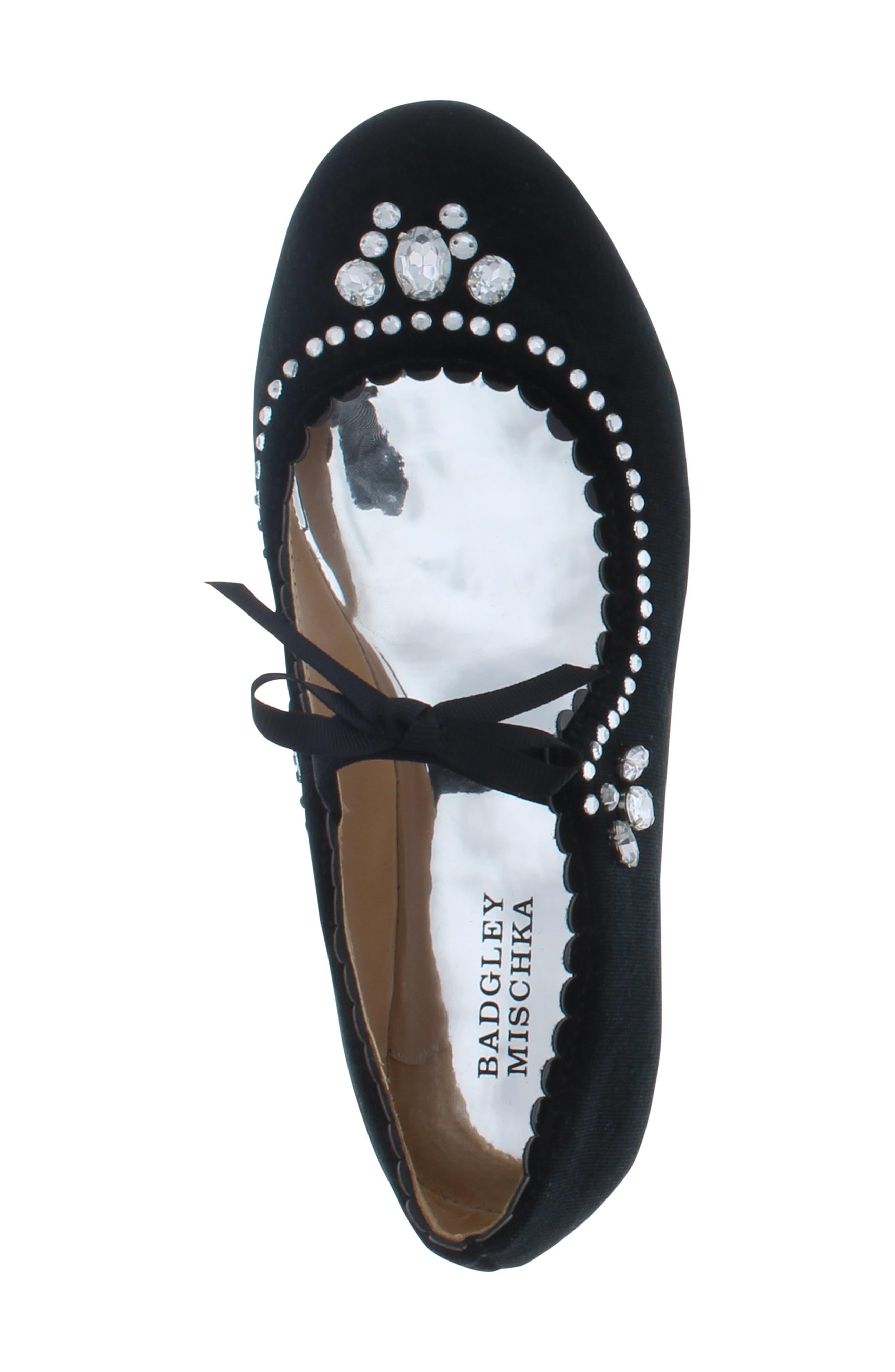 Badgley Mischka Amber Scallop Embellished Flat,                             Alternate thumbnail 5, color,                             BLACK