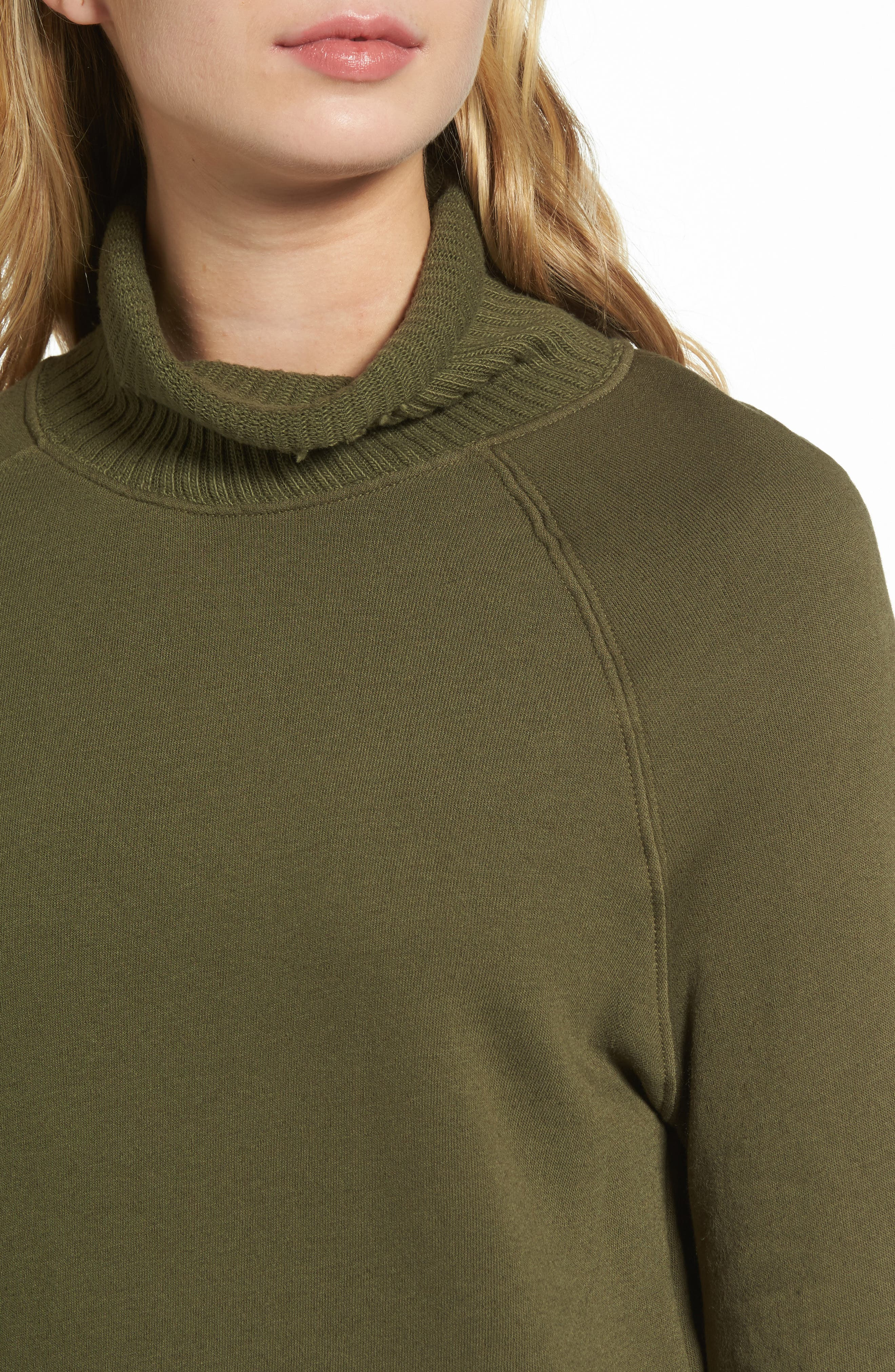 Distressed Fleece Turtleneck Sweatshirt,                             Alternate thumbnail 4, color,                             317