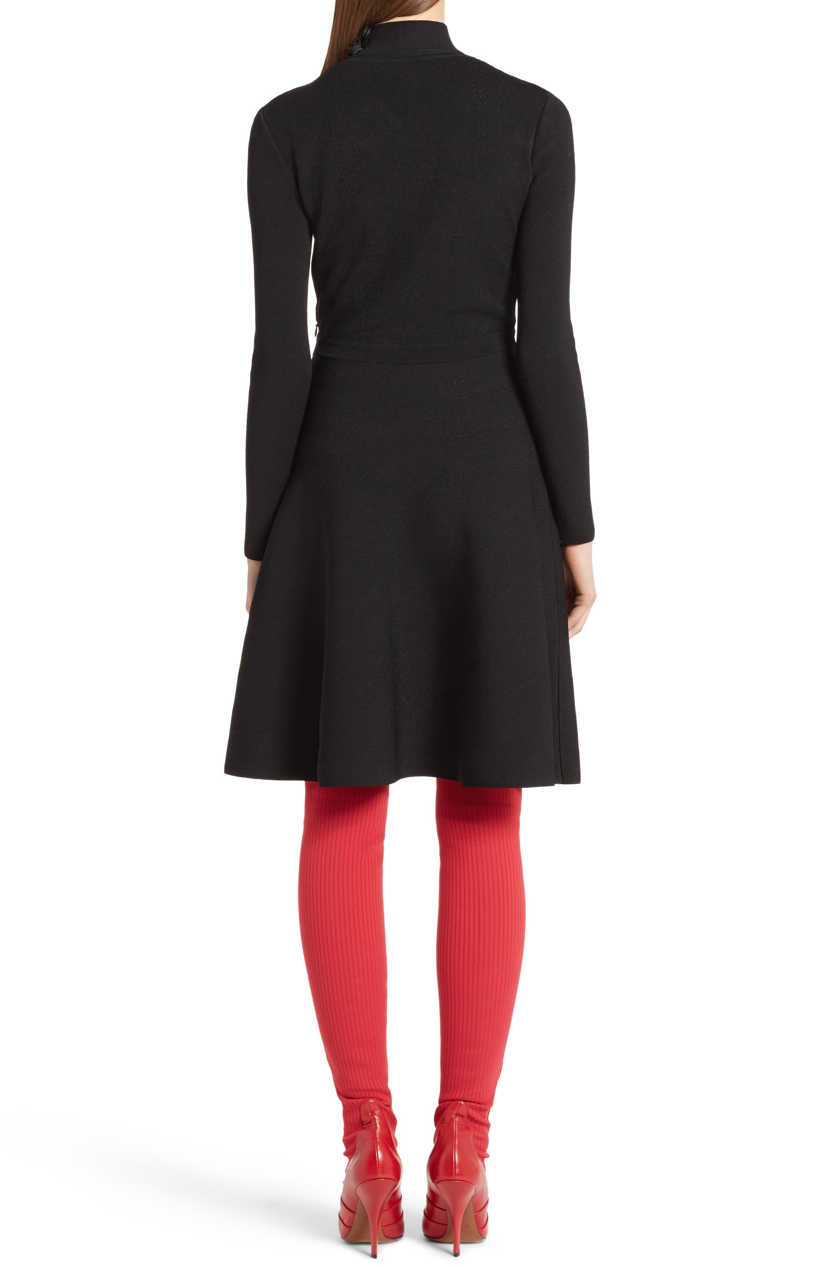Macramé Inset Knit Dress,                             Alternate thumbnail 2, color,                             001