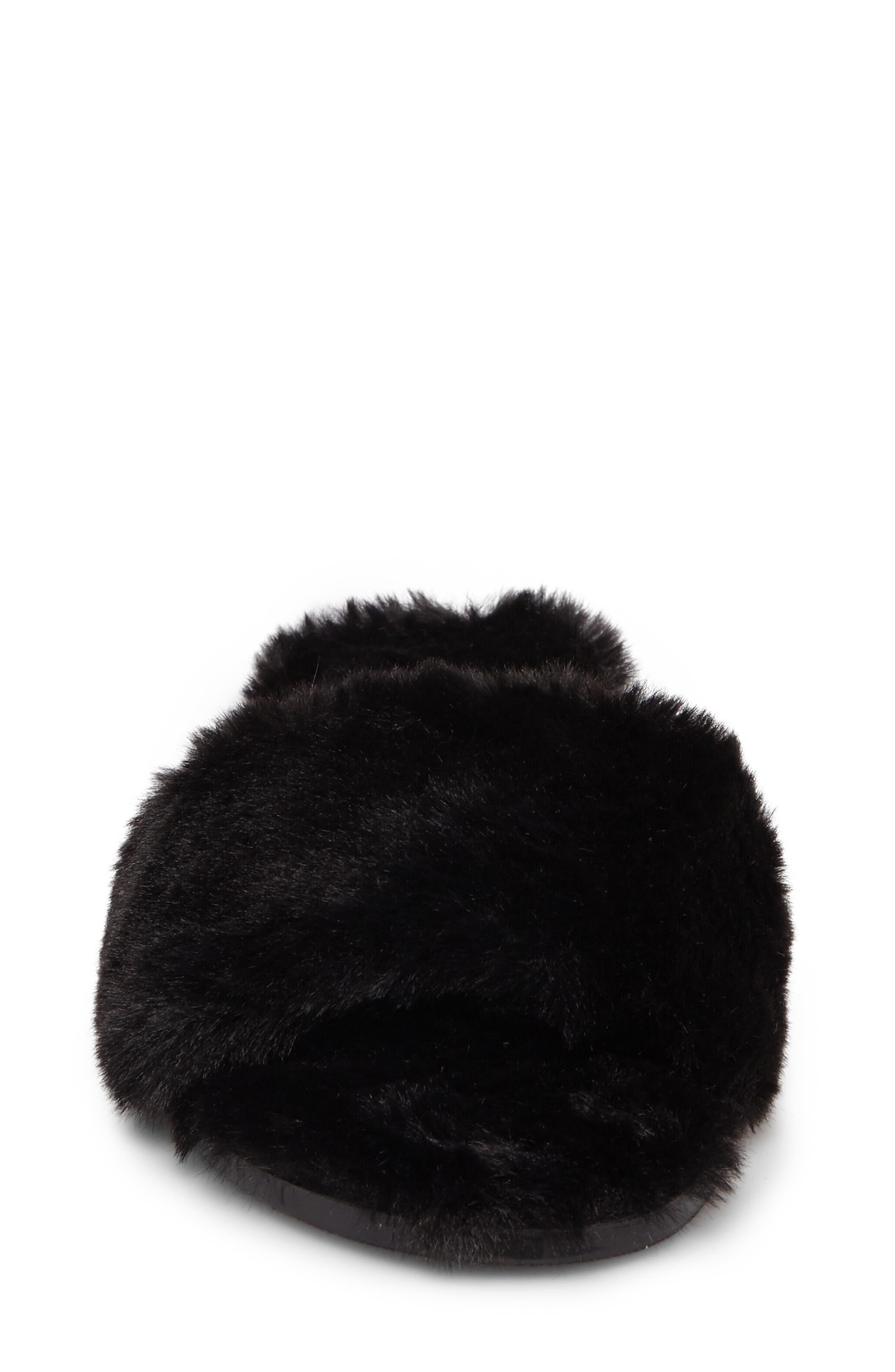 Mulholland Faux Fur Slide Sandal,                             Alternate thumbnail 4, color,                             001