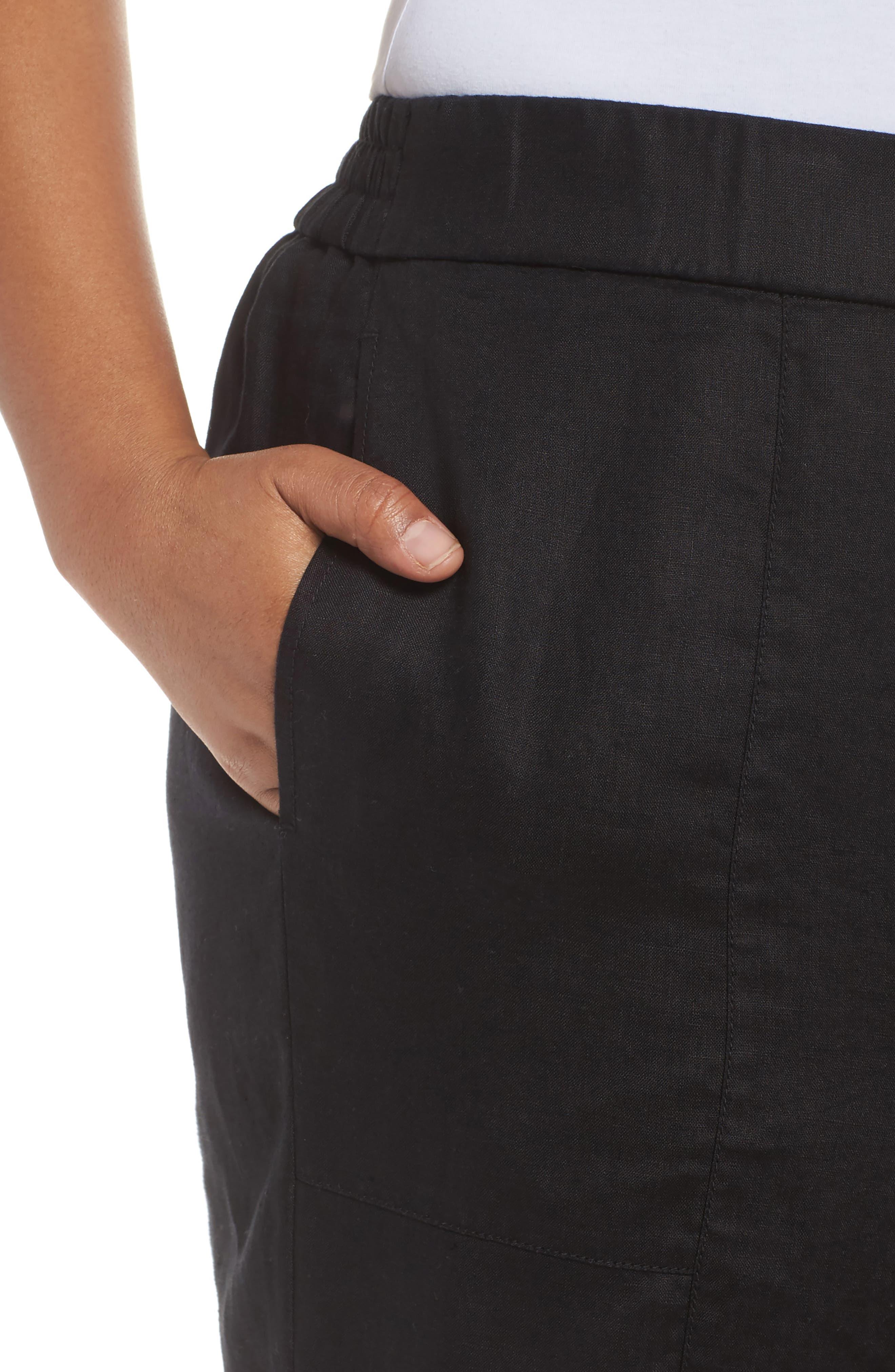 Linen Ankle Pants,                             Alternate thumbnail 4, color,                             BLACK