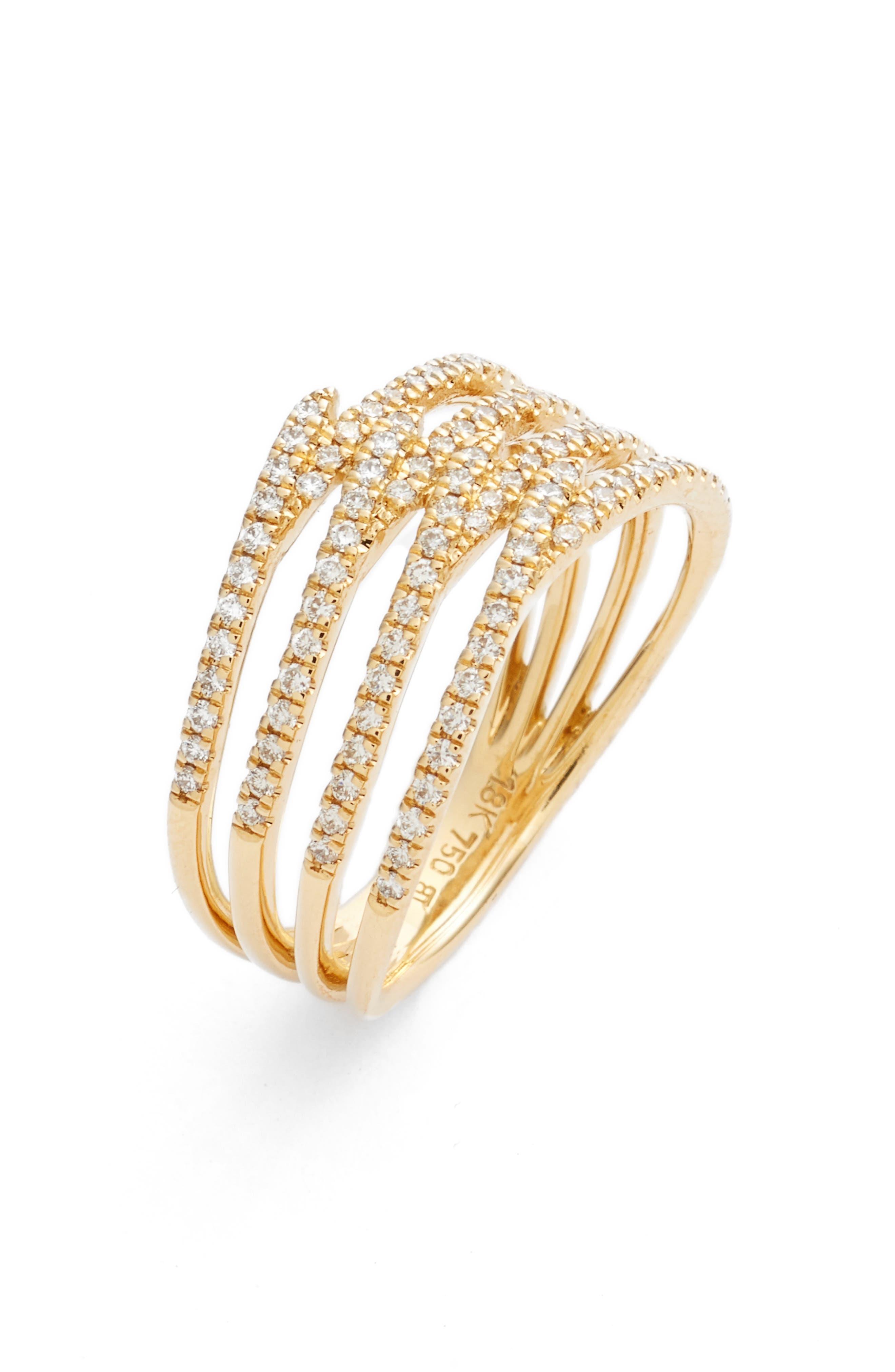 Kiera Four-Row Diamond Ring,                             Main thumbnail 1, color,                             YELLOW GOLD