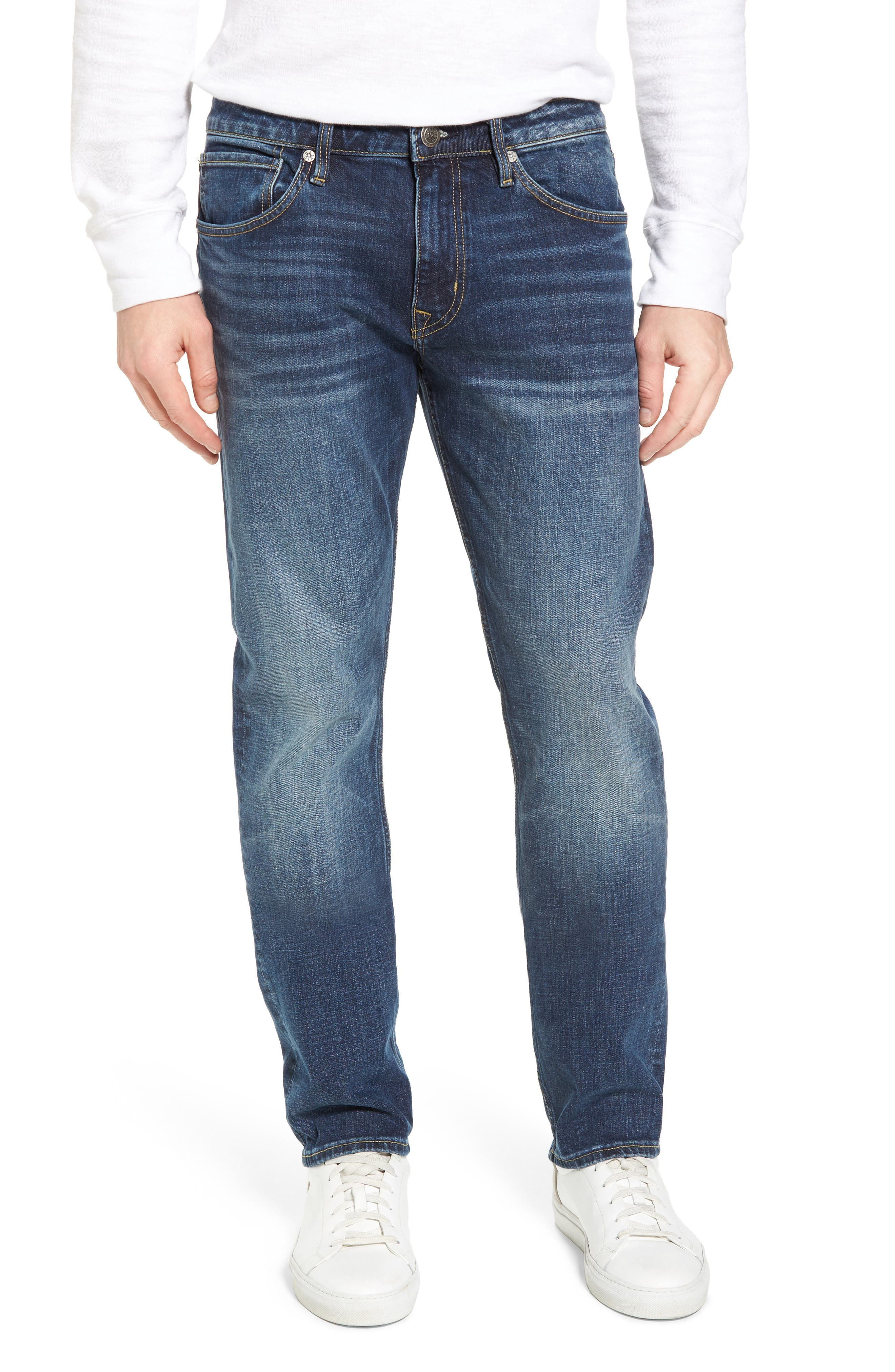Slim Straight Leg Jeans,                             Main thumbnail 1, color,                             MEDIUM WASH