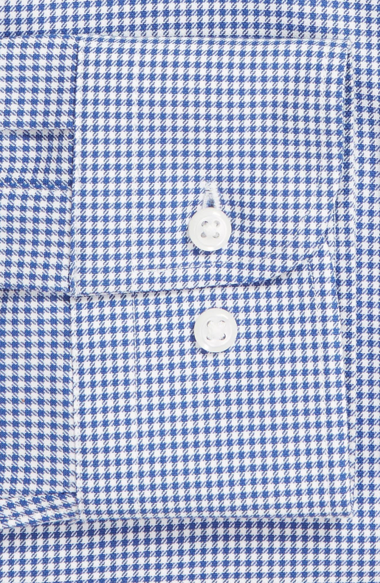 Tech-Smart Trim Fit Stretch Check Dress Shirt,                             Alternate thumbnail 6, color,                             BLUE MARINE