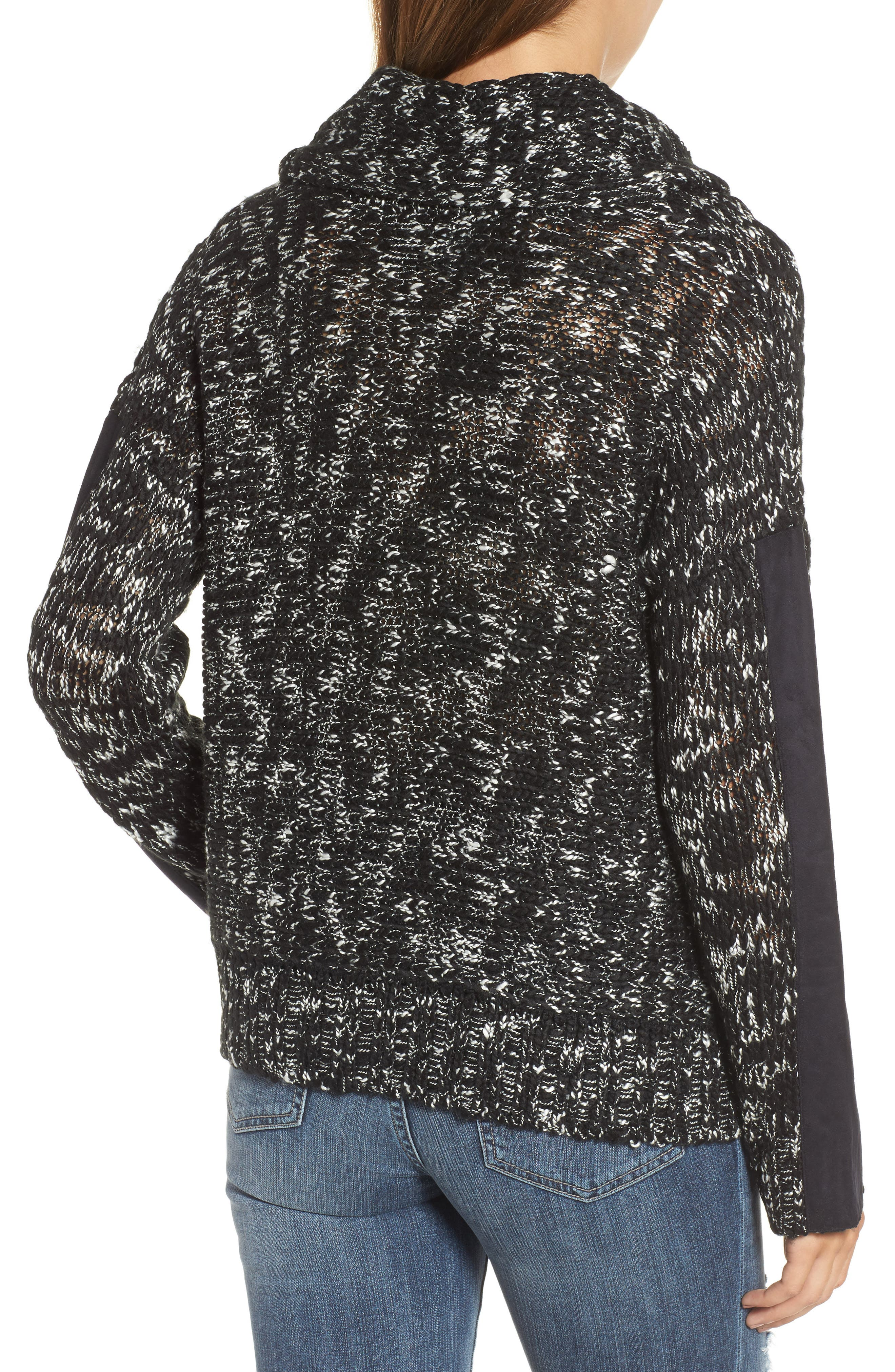 Cowl Neck Patch Sleeve Sweater,                             Alternate thumbnail 2, color,                             001