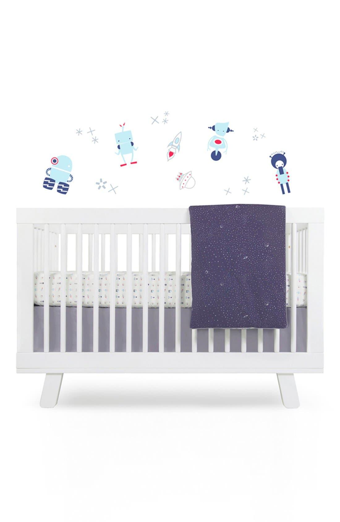 'Galaxy' Crib Sheet, Crib Skirt, Changing Pad Cover, Play Blanket & Wall Decals,                             Main thumbnail 1, color,                             020