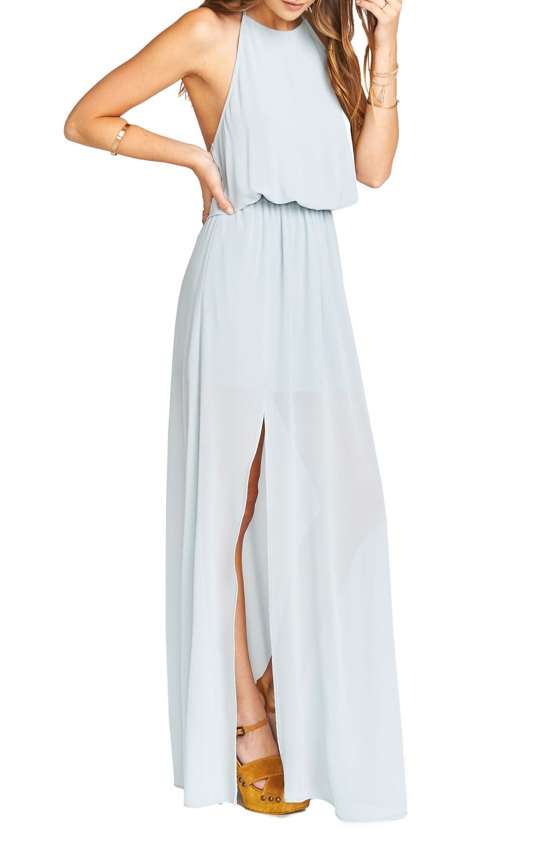 Heather Chiffon Halter Gown,                             Alternate thumbnail 21, color,