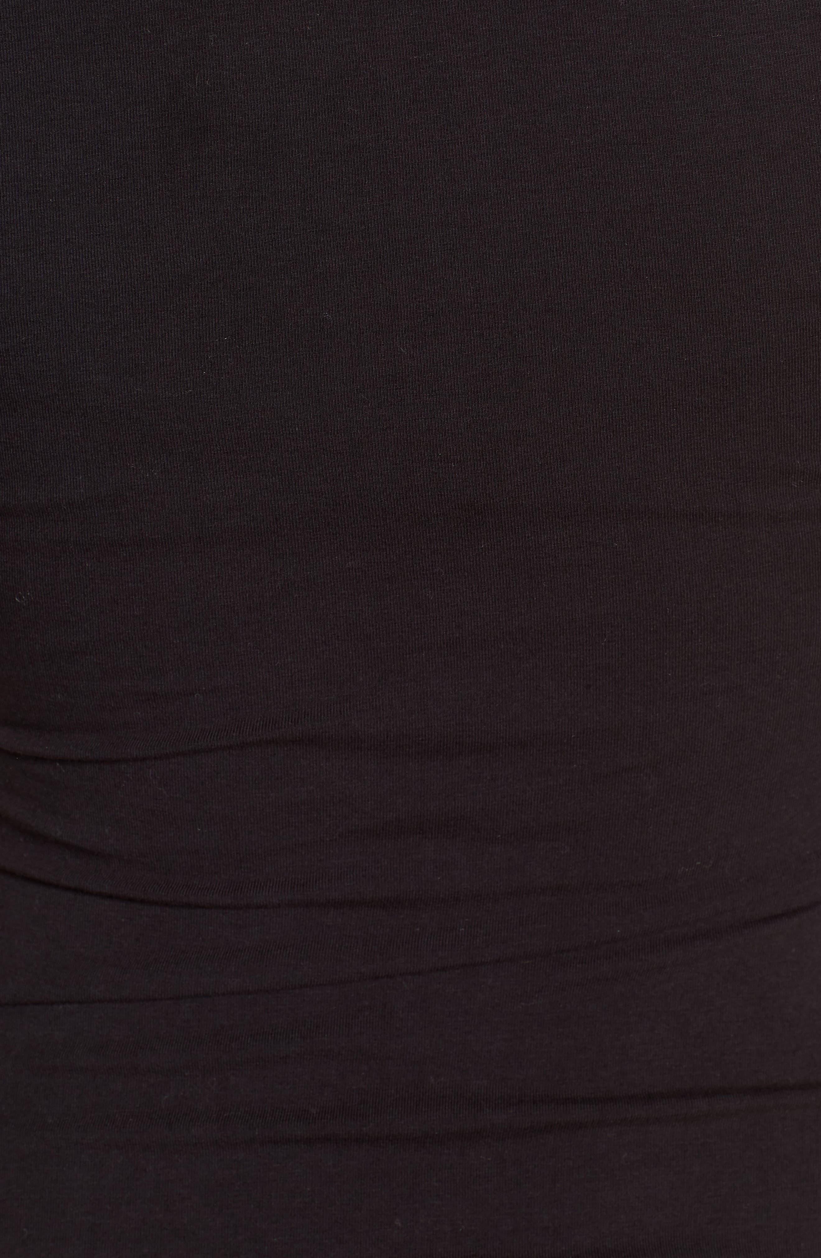 Ruched Surplice Stretch Cotton Body-Con Dress,                             Alternate thumbnail 6, color,                             BLACK