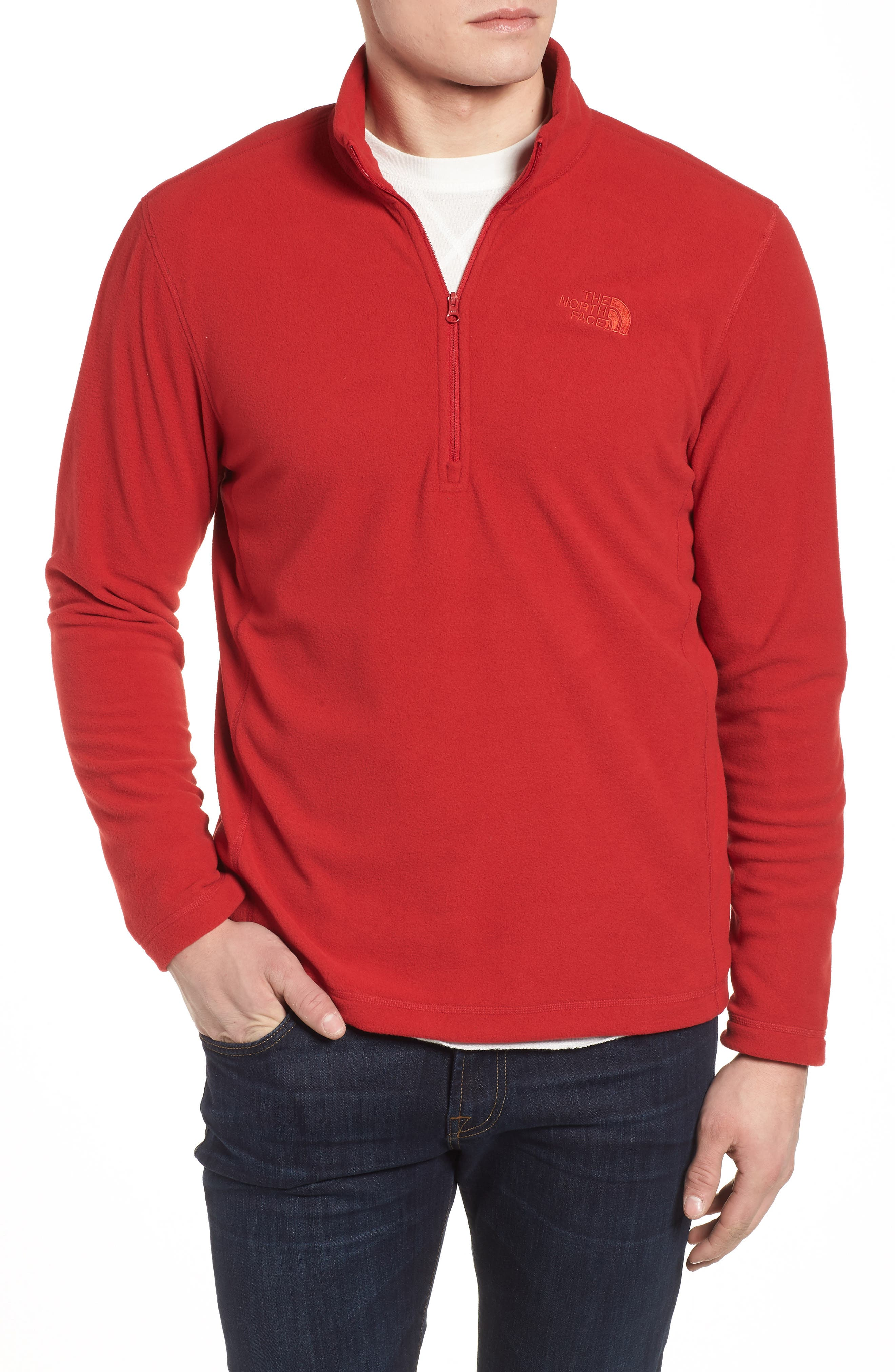 'TKA 100 Glacier' Quarter Zip Fleece Pullover,                         Main,                         color, RAGE RED/ RAGE RED