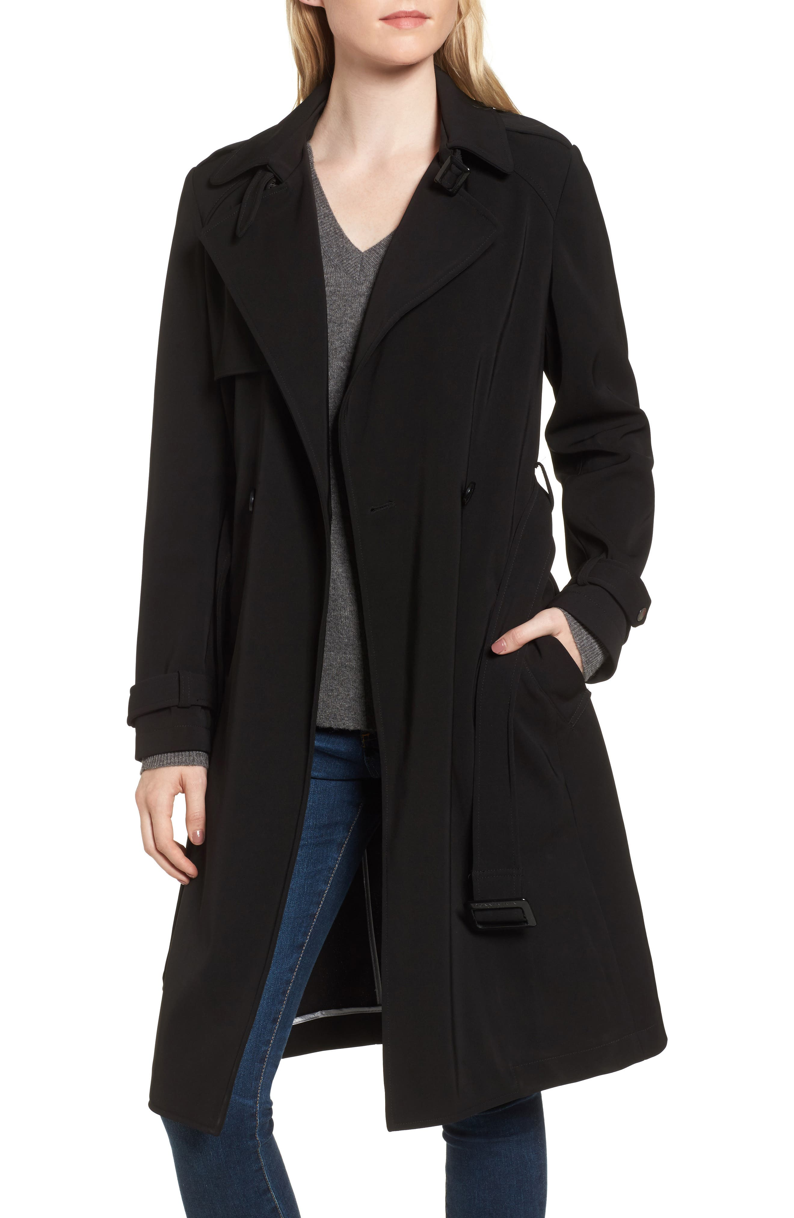 DKNY French Twill Water Resistant Trench Coat,                             Alternate thumbnail 4, color,                             001