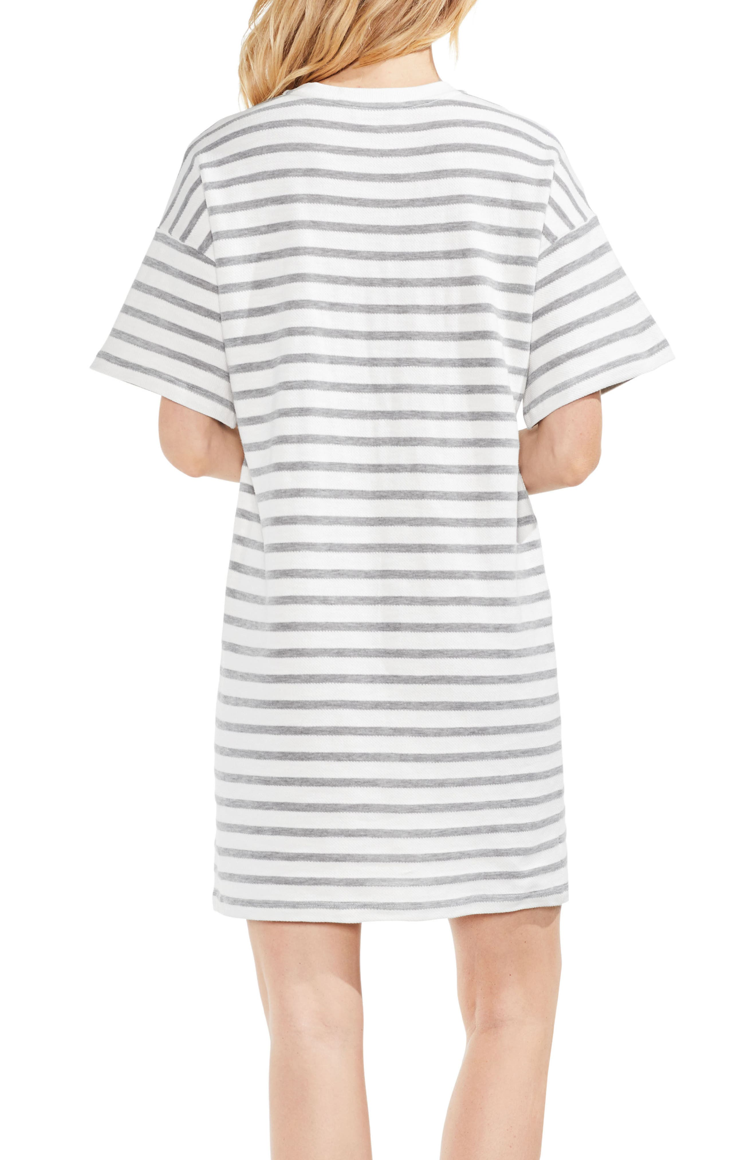 Drop Shoulder Stripe Shift Dress,                             Alternate thumbnail 3, color,