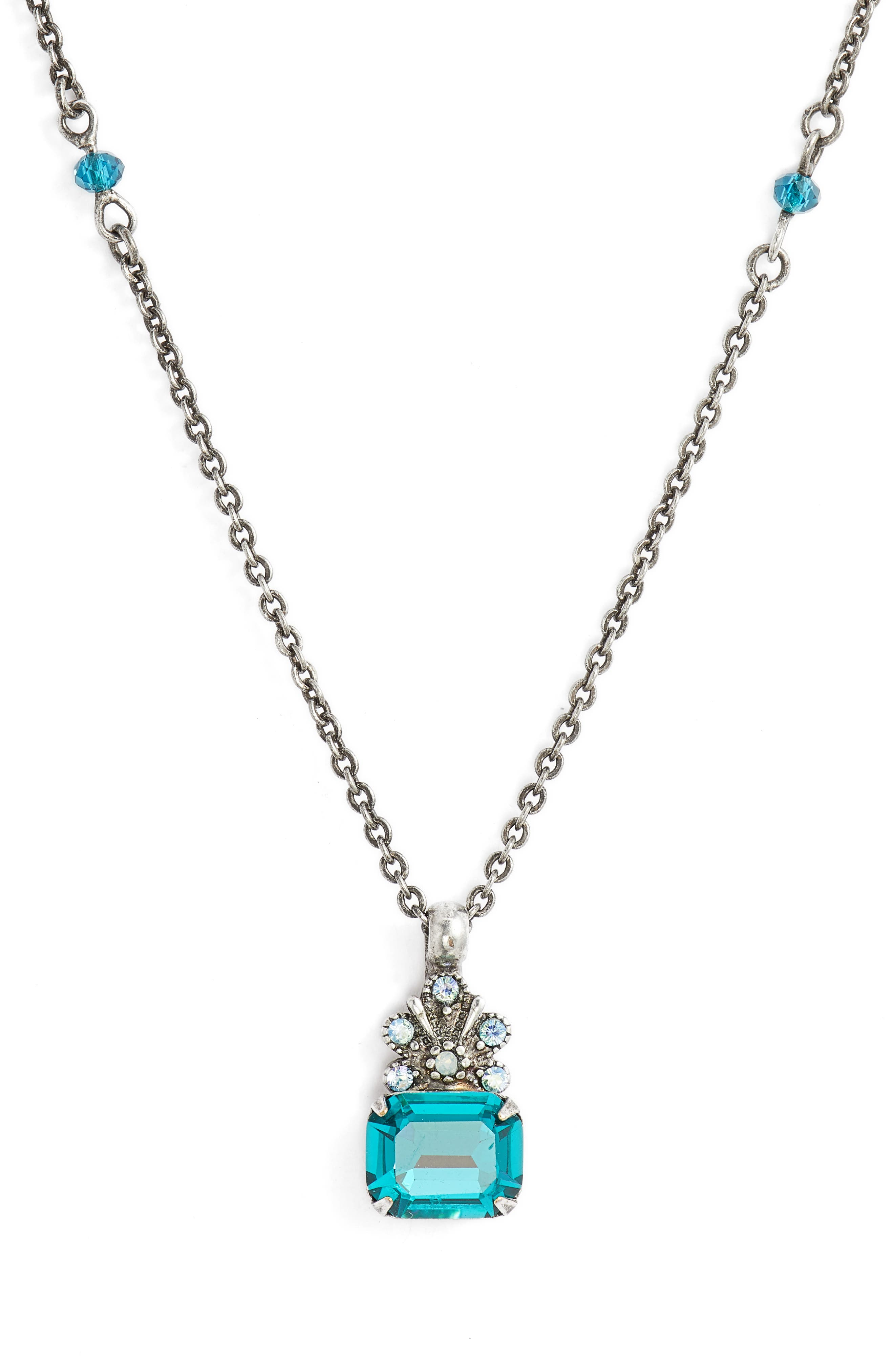 Crowning Glory Crystal Pendant Necklace,                         Main,                         color, BLUE-GREEN