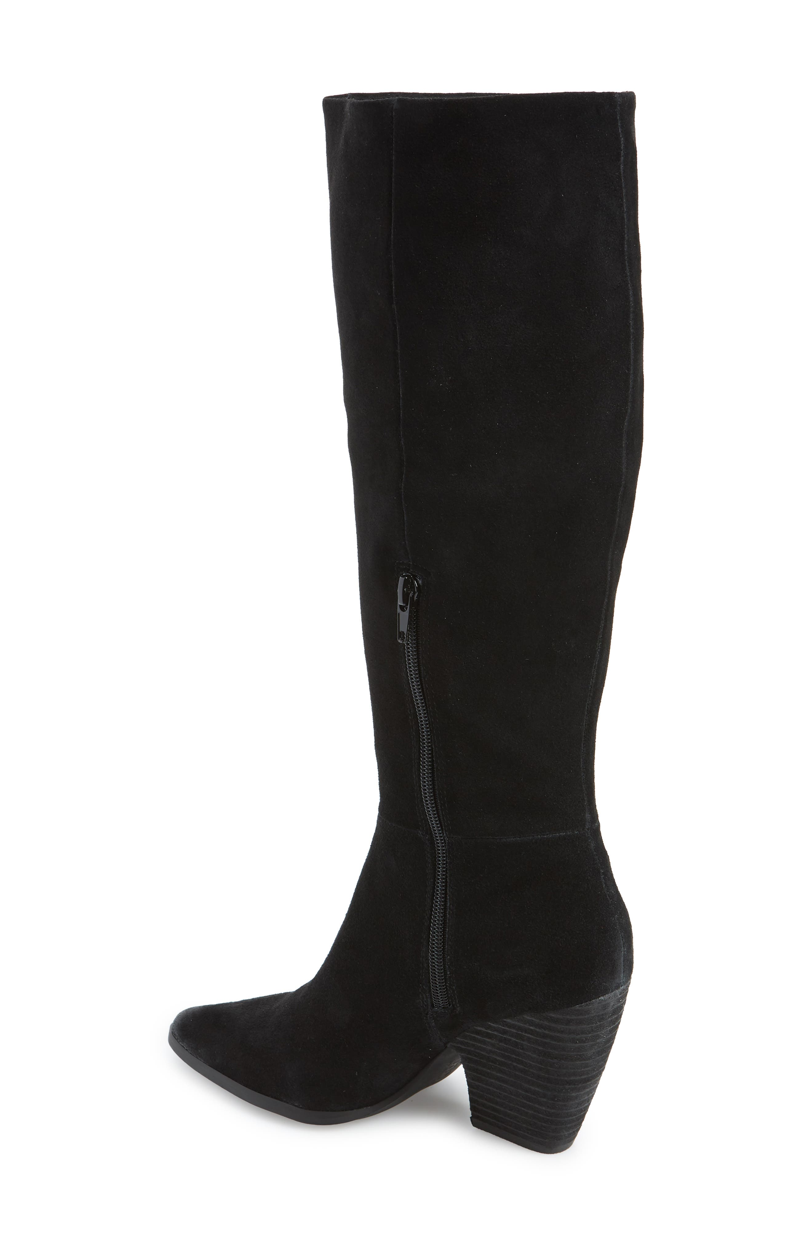 Nyles Knee High Boot,                             Alternate thumbnail 2, color,                             BLACK SUEDE
