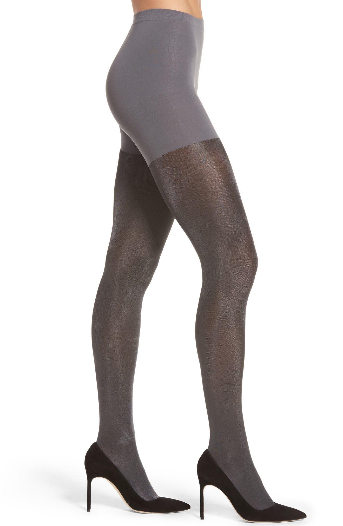 Metallic Shimmer Mid Thigh Shaping Tights, Main, color, 020