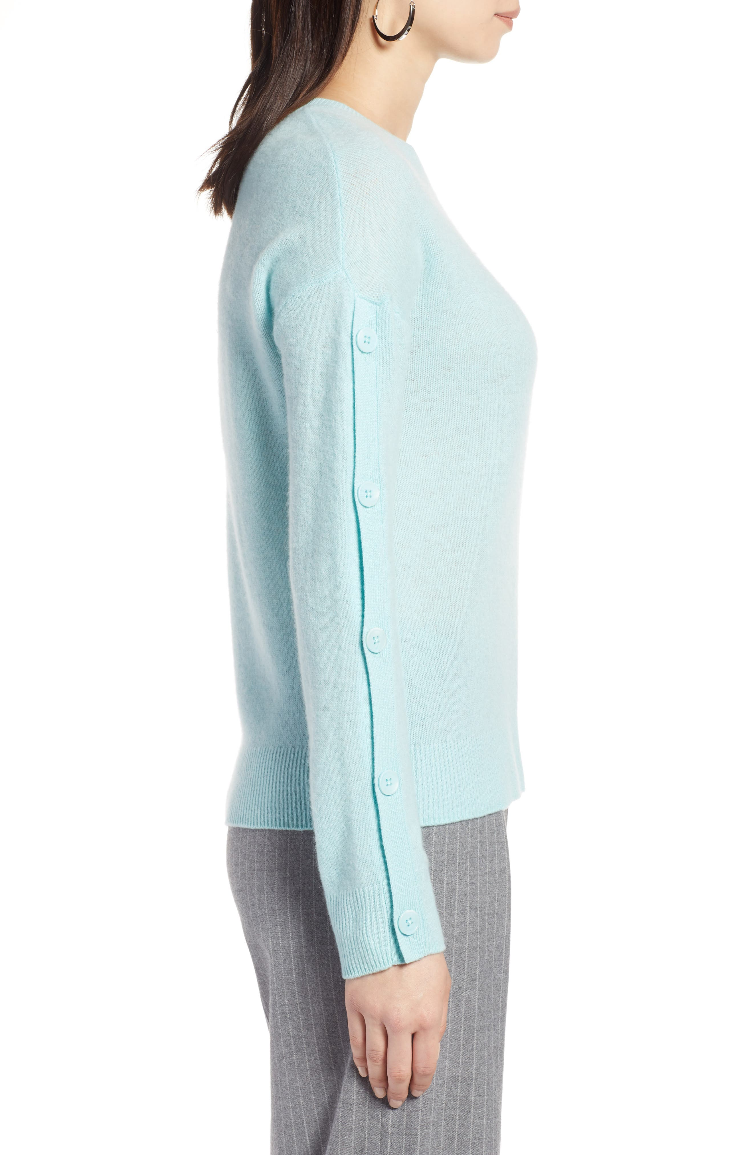 Cashmere Button Sleeve Sweater,                             Alternate thumbnail 3, color,                             450
