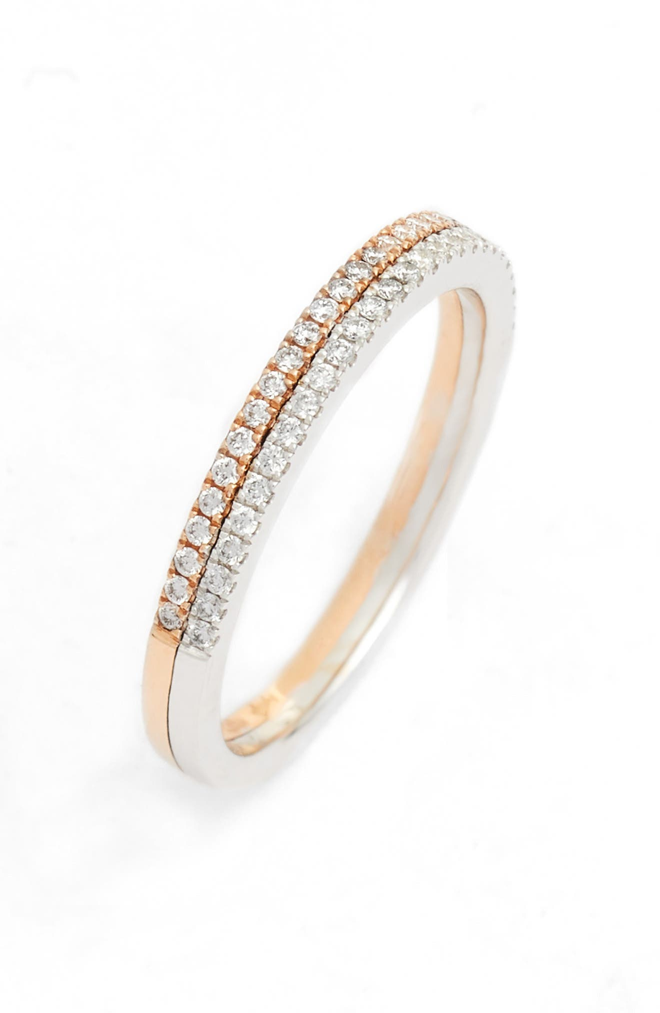 Duo Metal Diamond Double Stacked Ring,                         Main,                         color, TWO TONE