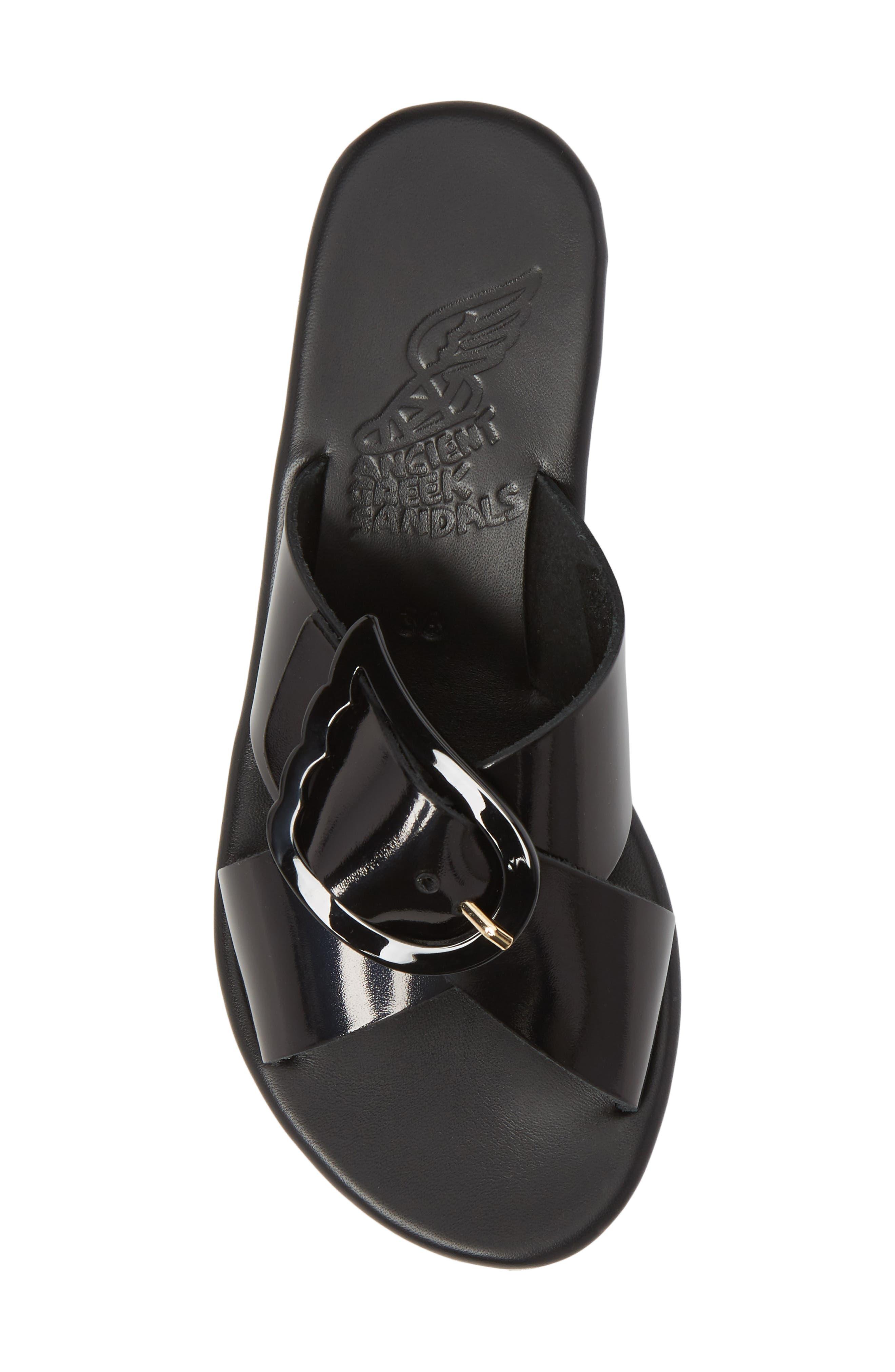 Thais Wedge Slide Sandal,                             Alternate thumbnail 5, color,                             BLACK