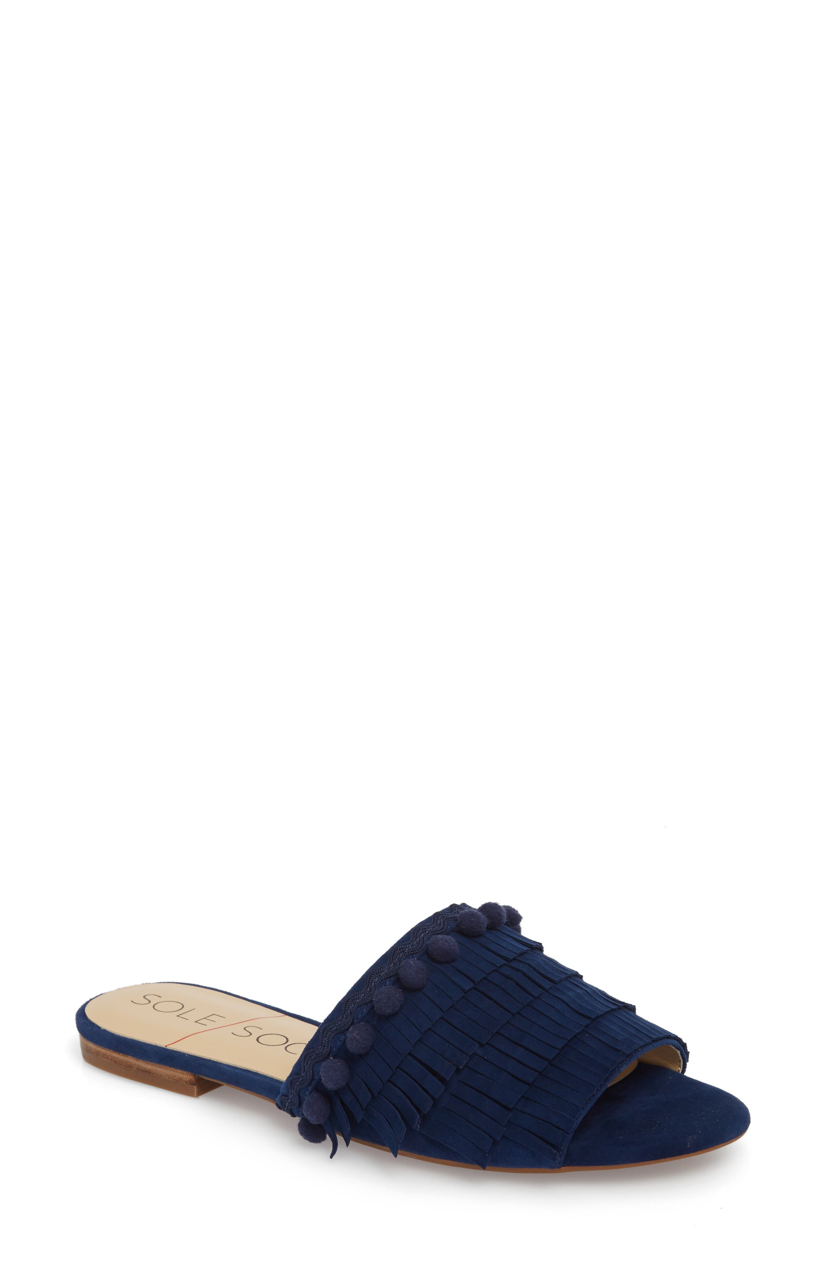 Malina Mule,                             Main thumbnail 1, color,                             NAVY SUEDE