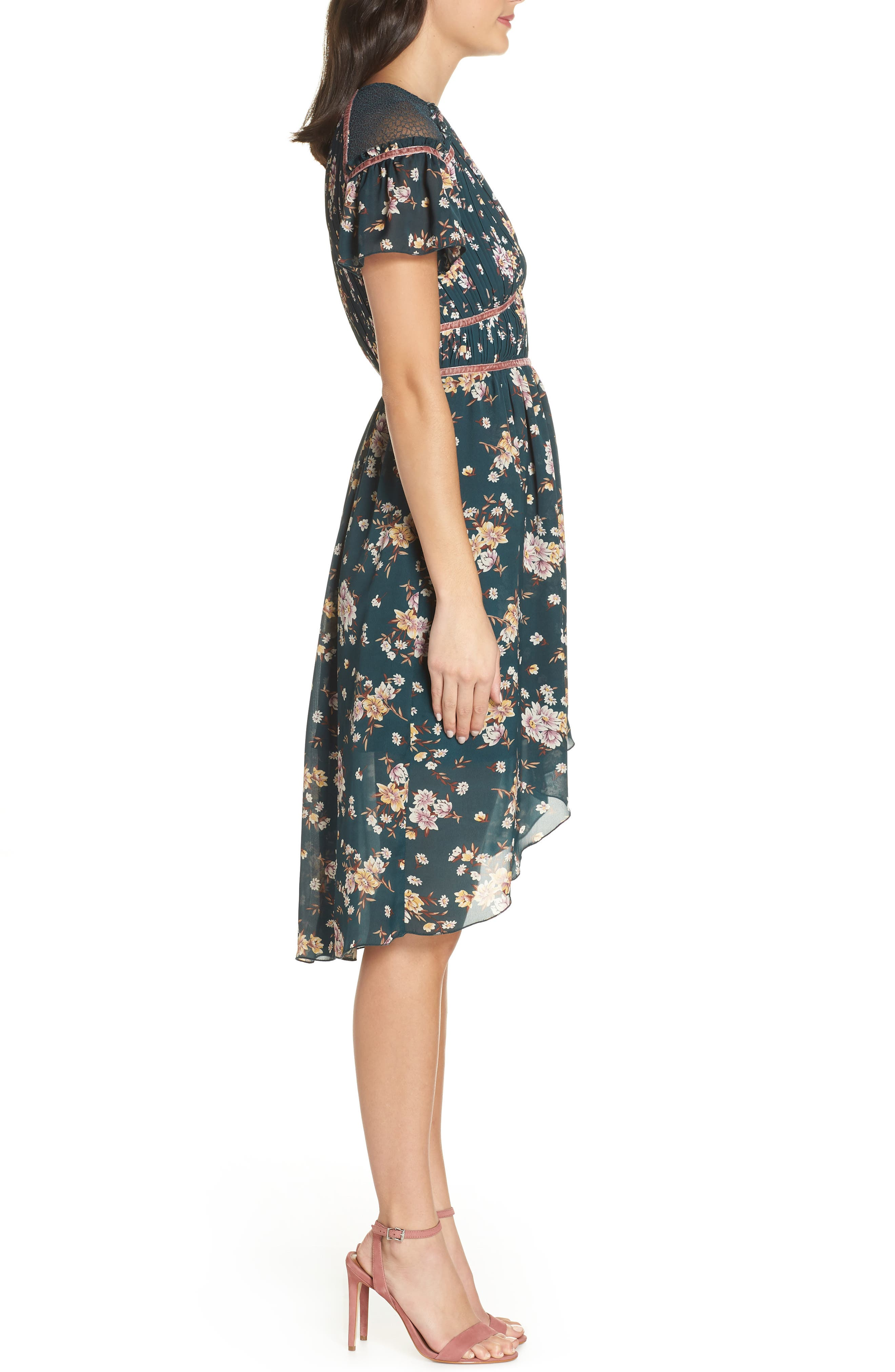 Floral Pleat & Lace Mix Dress,                             Alternate thumbnail 4, color,                             GREEN BRANCHING LILIES