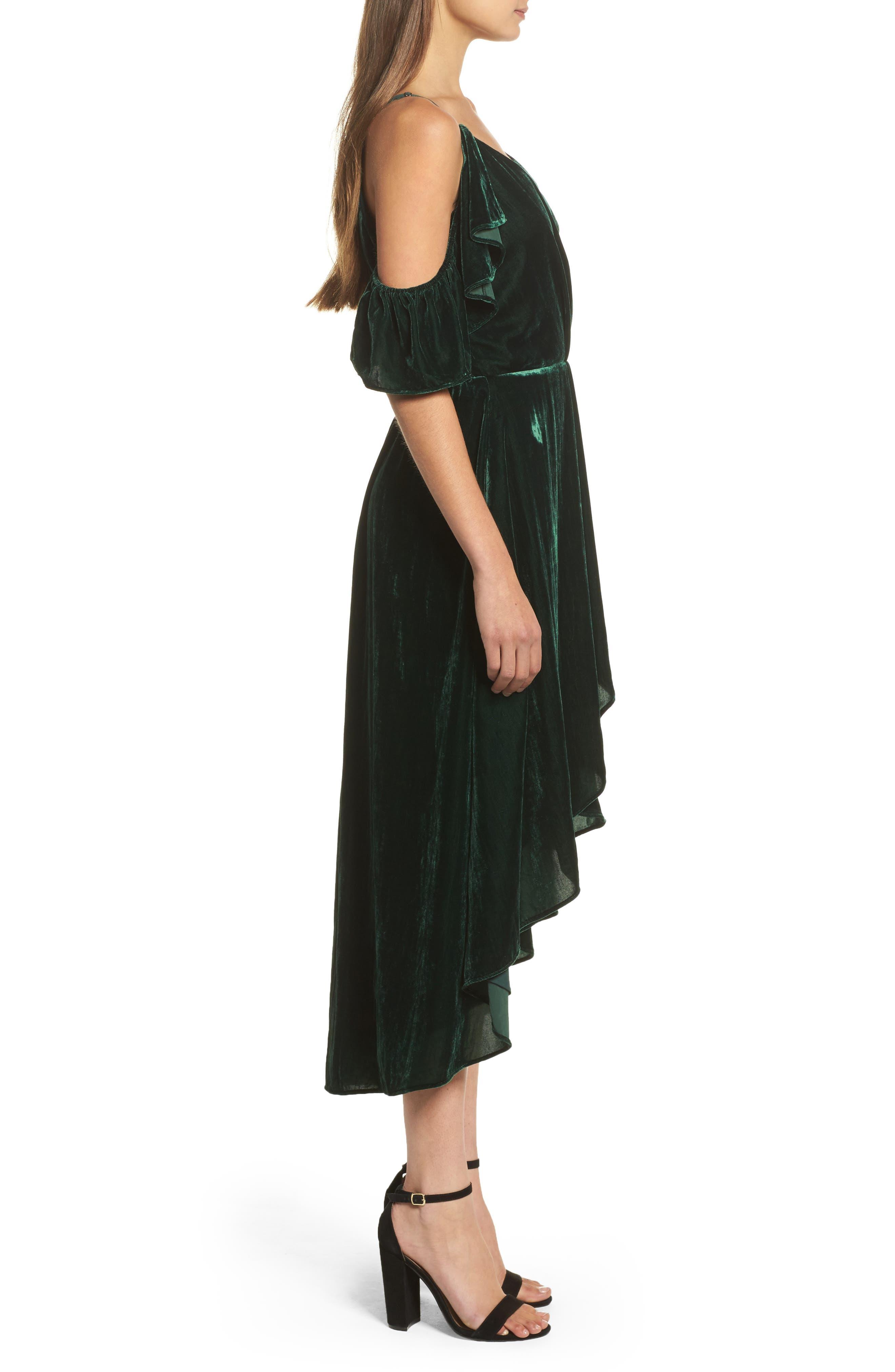 Cold Shoulder Velvet Midi Dress,                             Alternate thumbnail 3, color,                             301