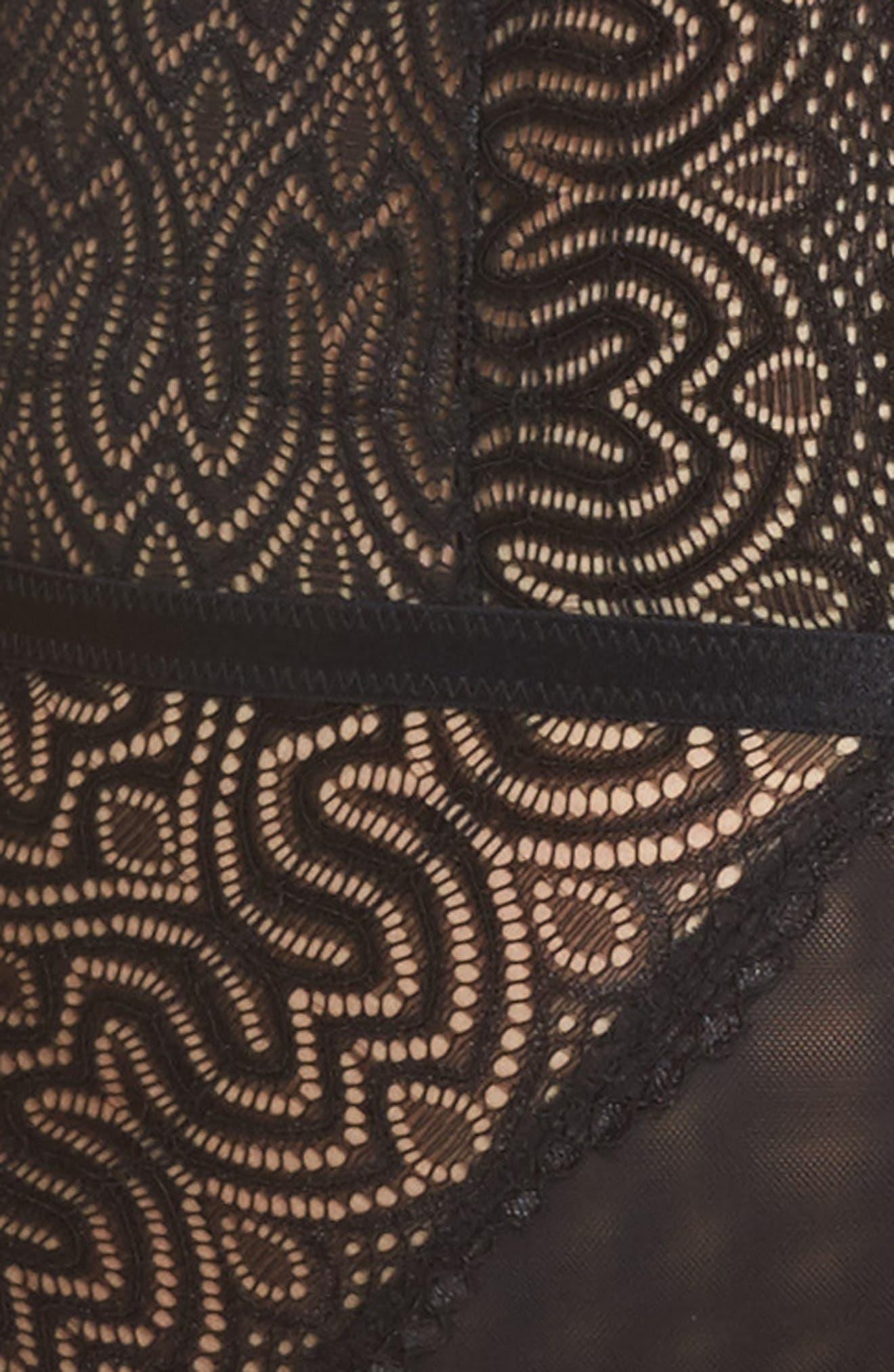Lucette Edgy Lace Plunge Bodysuit,                             Alternate thumbnail 5, color,                             BLACK