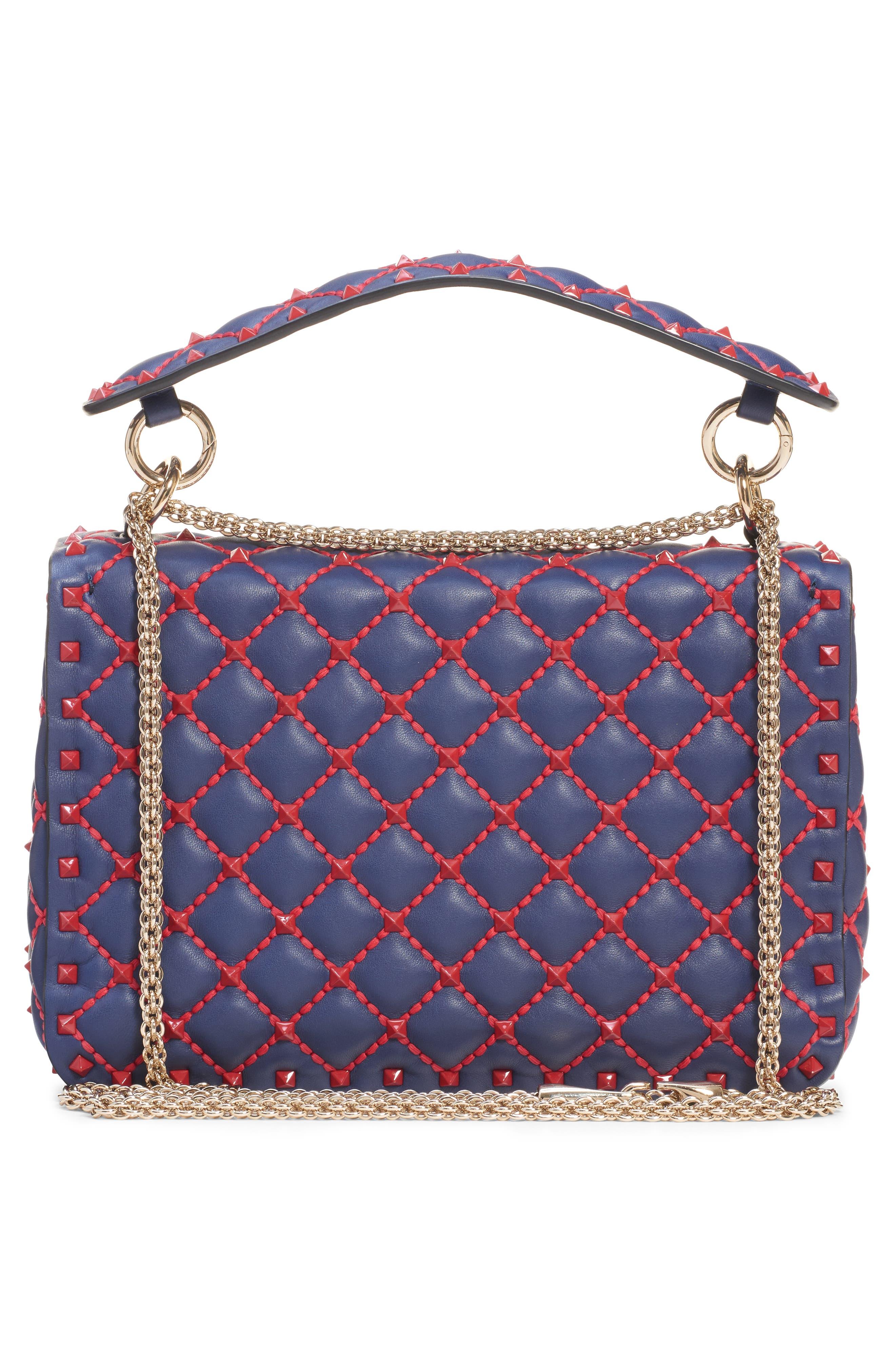 Medium Spike.It Leather Shoulder Bag,                             Alternate thumbnail 3, color,                             PURE BLUE/ ROSSO