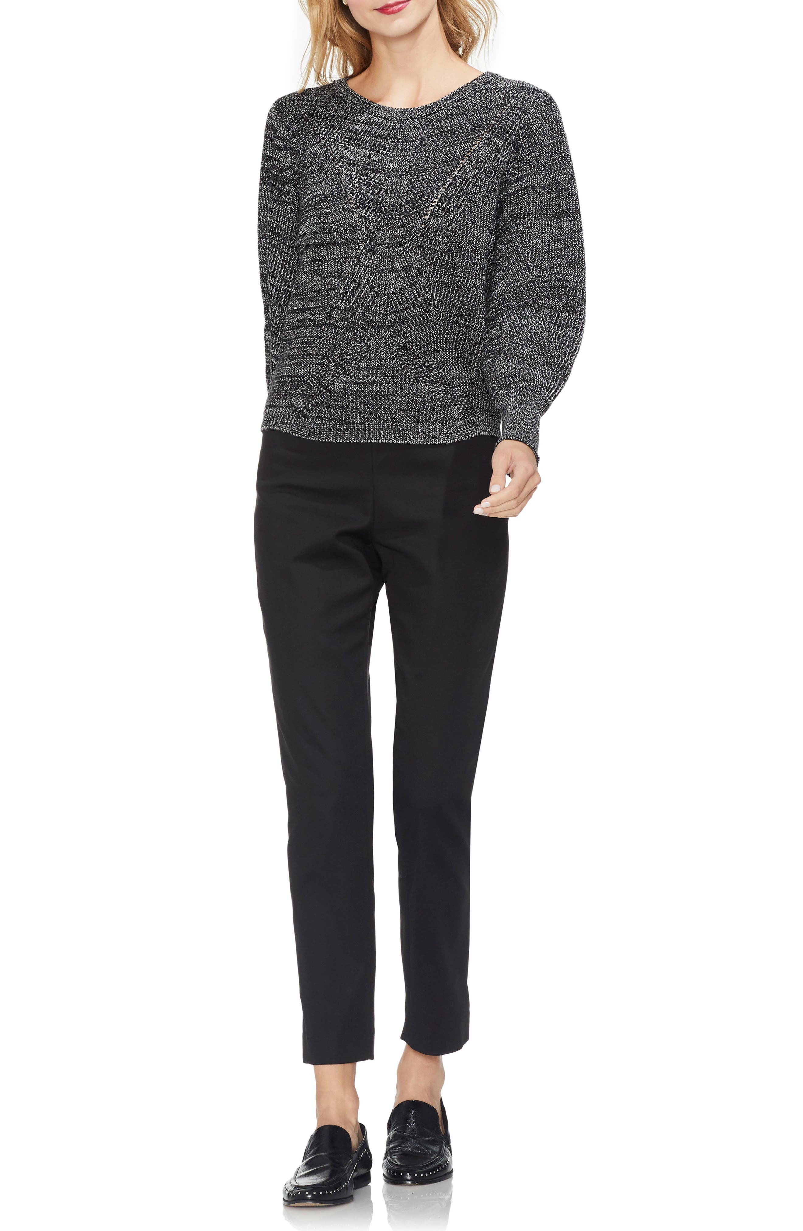 Lace-Up Back Sweater,                             Alternate thumbnail 3, color,                             BLACK MARLE