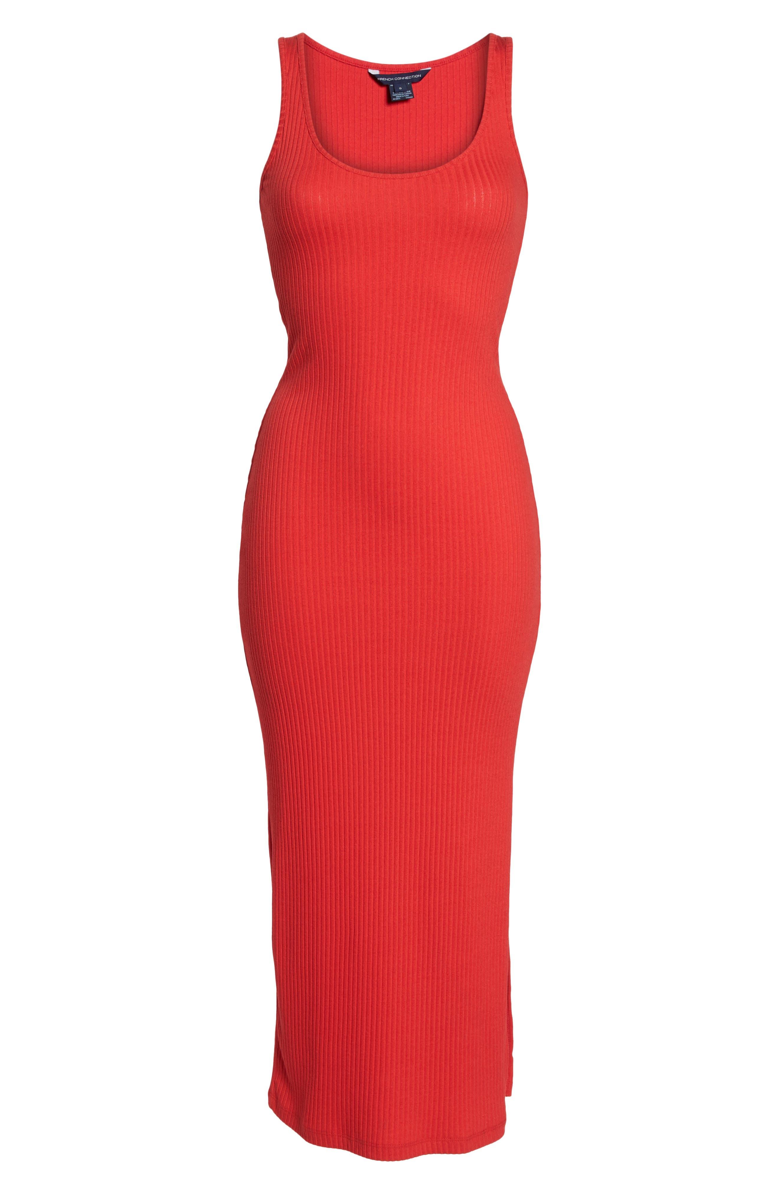 Tommy Rib Knit Tank Dress,                             Alternate thumbnail 7, color,                             SHANGHAI RED