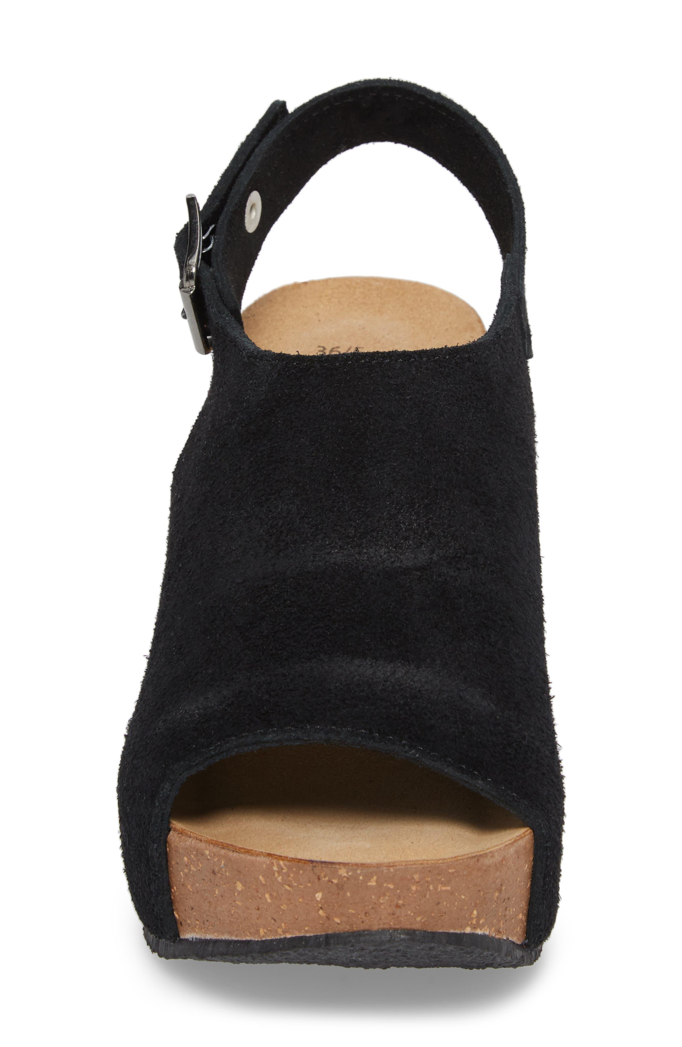 Sheila Platform Wedge Sandal,                             Alternate thumbnail 4, color,                             BLACK NUBUCK