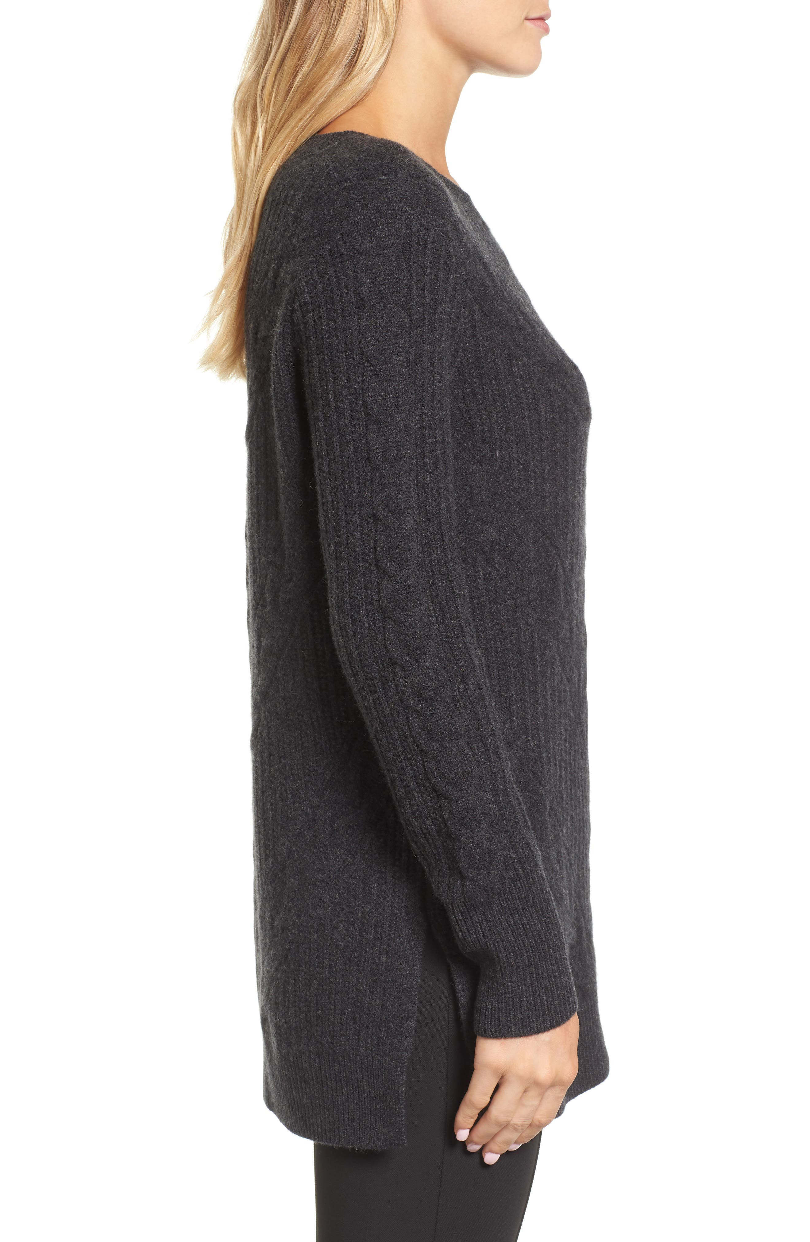 Cashmere Cable Tunic Sweater,                             Alternate thumbnail 3, color,                             021