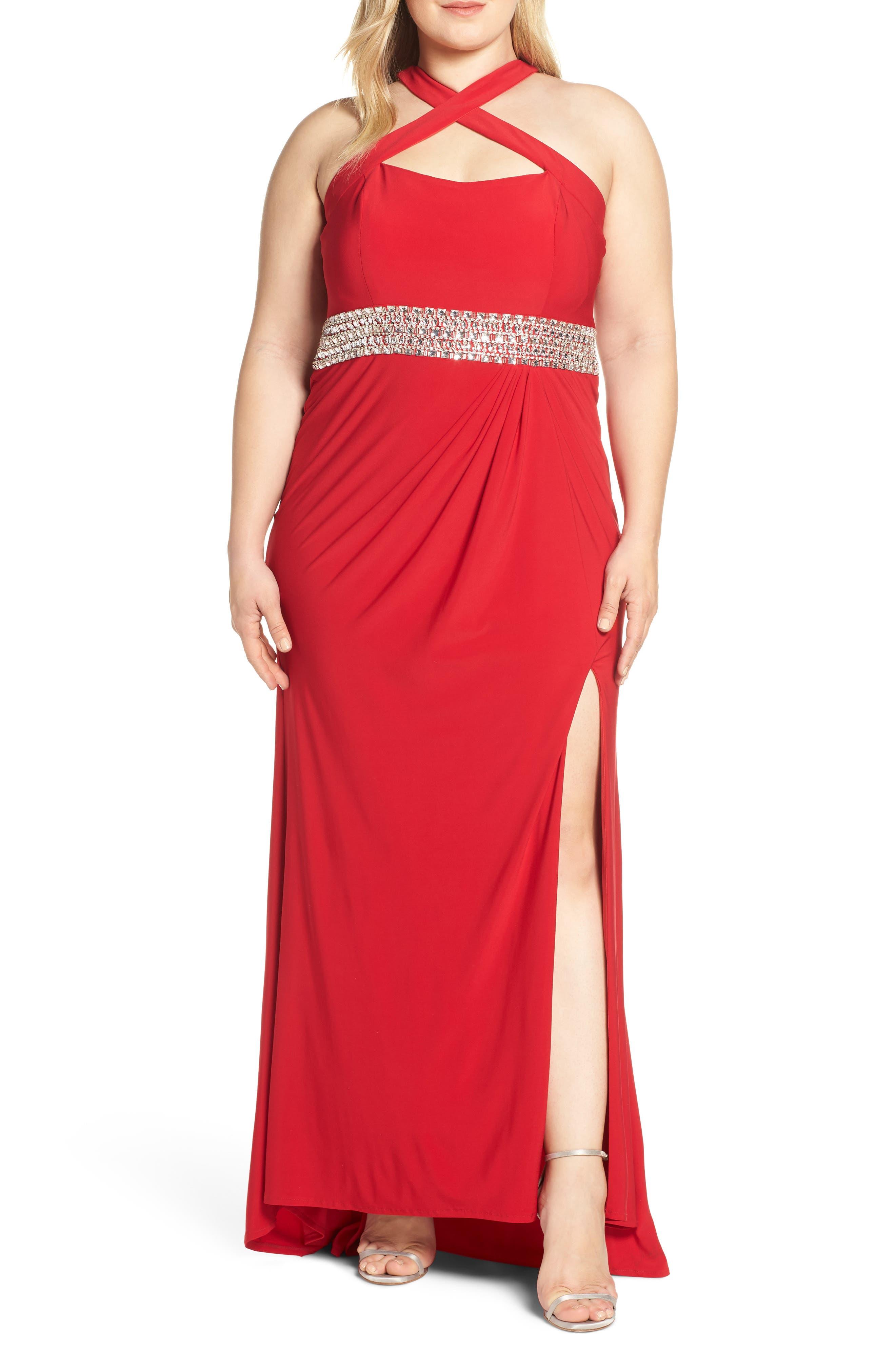 Plus Size MAC Duggal Crisscross Neck Evening Dress, Red
