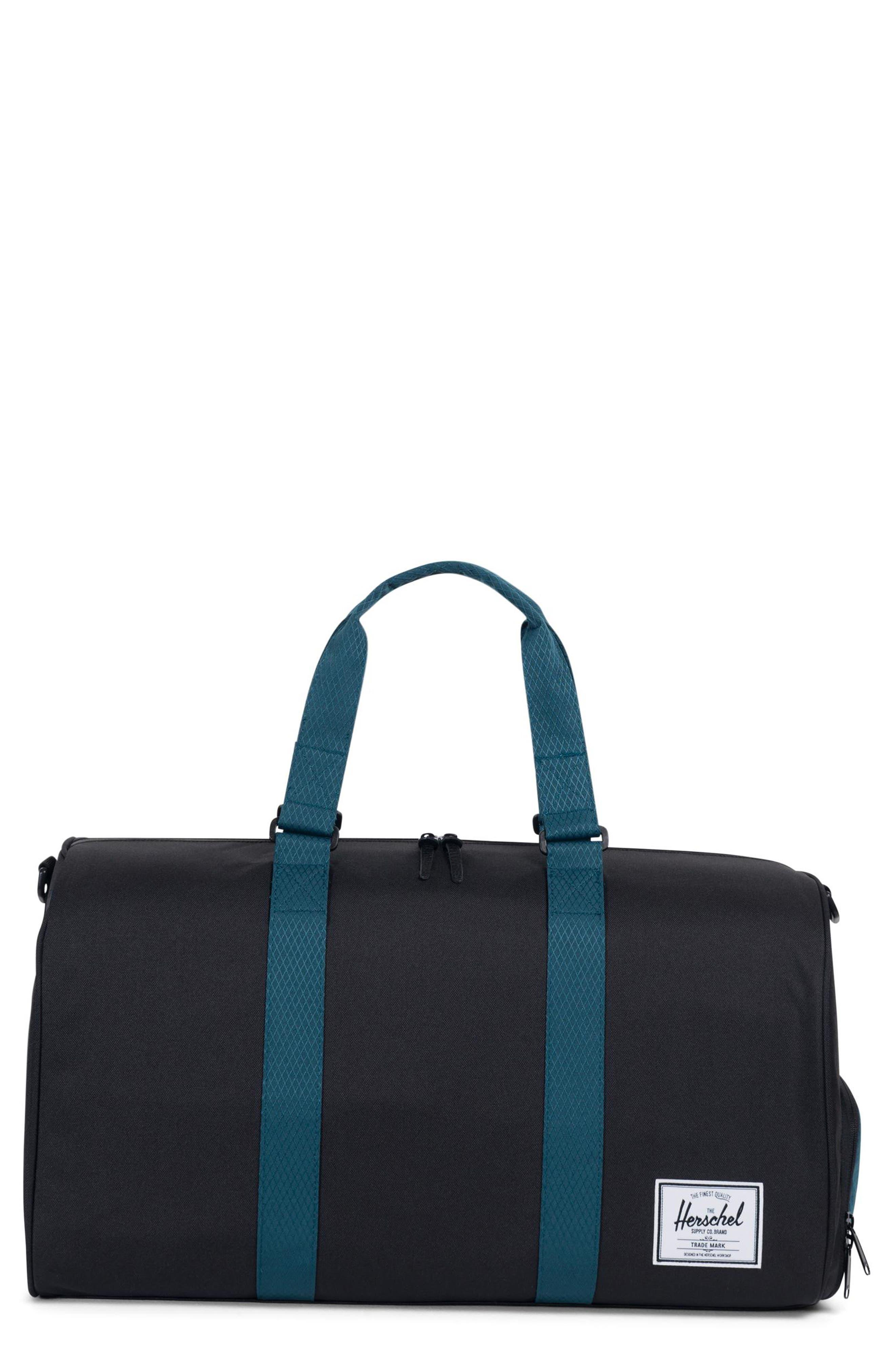 Novel Duffel Bag,                             Main thumbnail 1, color,                             BLACK/ DEEP TEAL