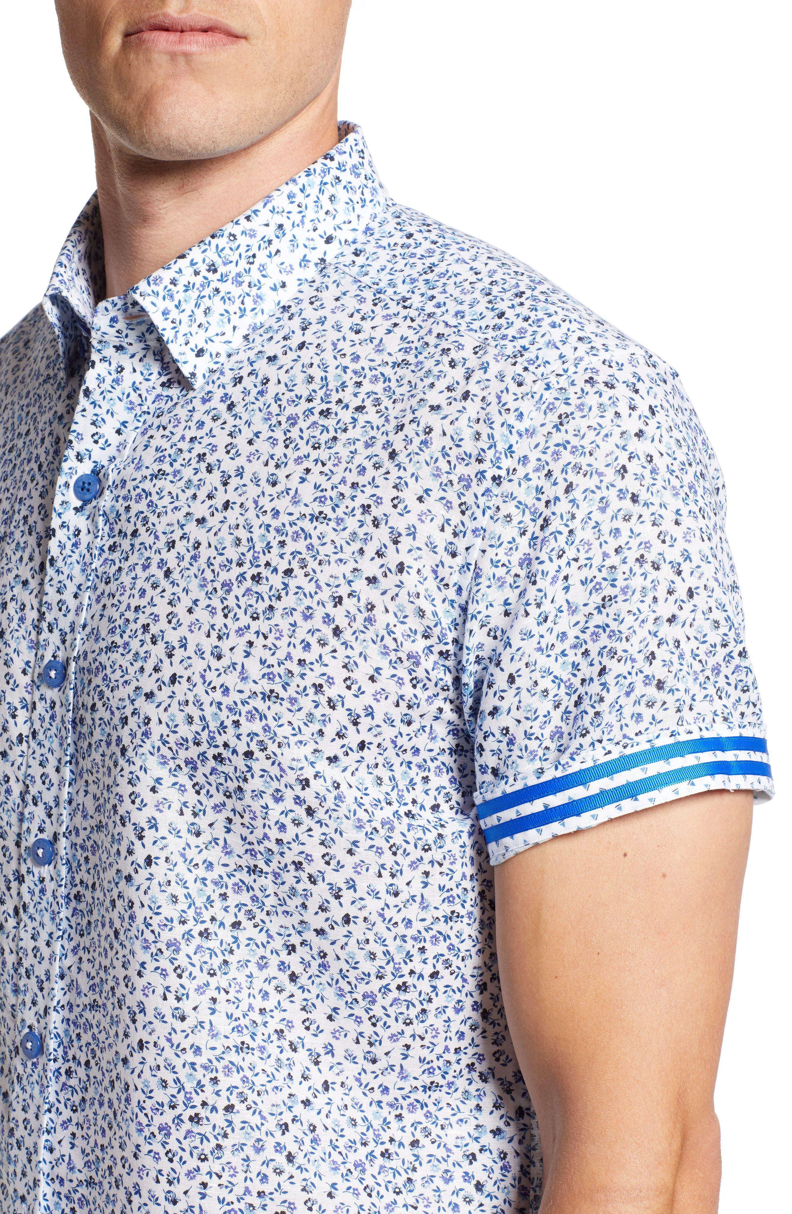 Patrick Floral Linen Blend Sport Shirt,                             Alternate thumbnail 2, color,                             400