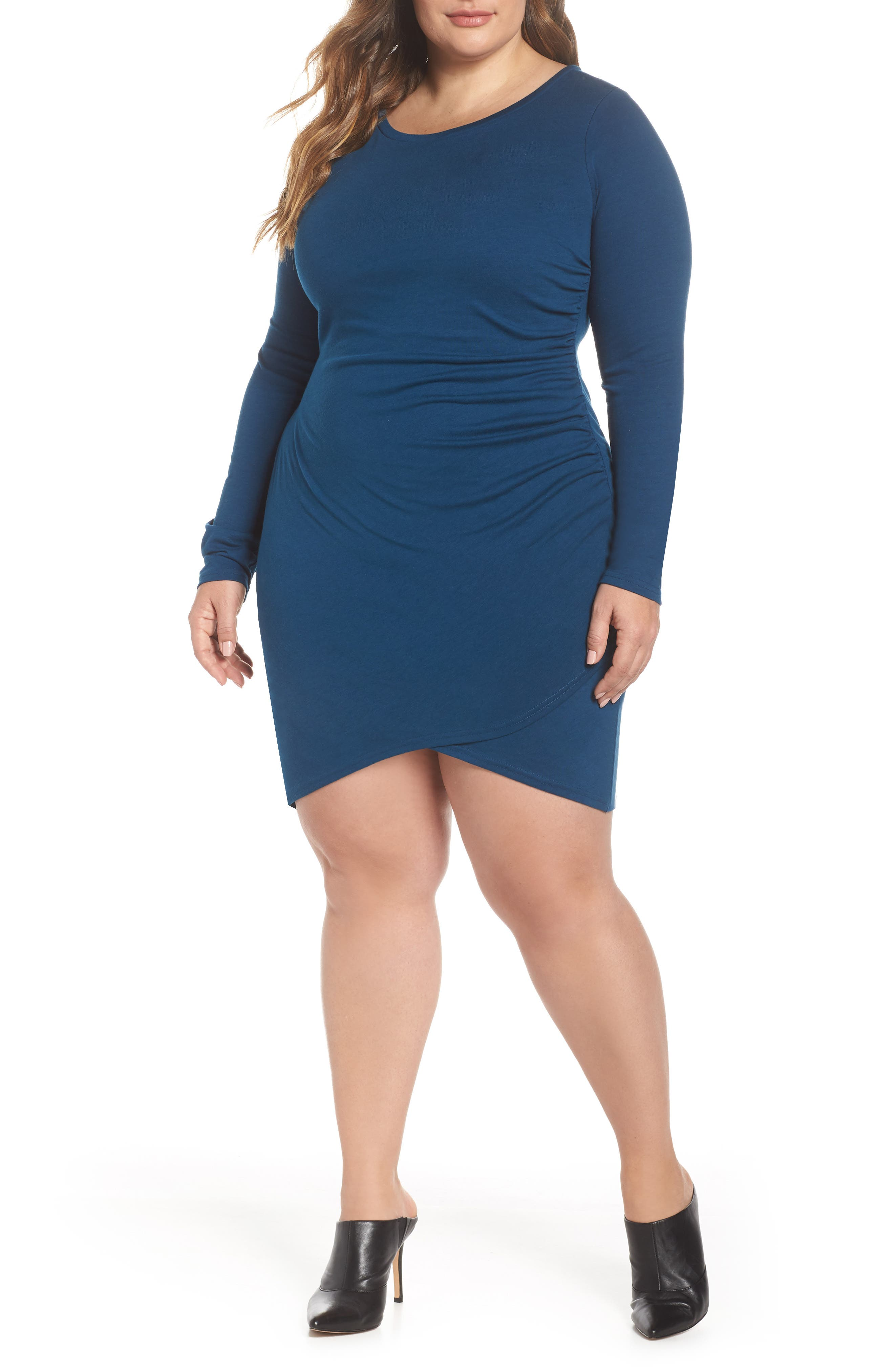 LEITH Ruched Body-Con Dress, Main, color, BLUE AURORA