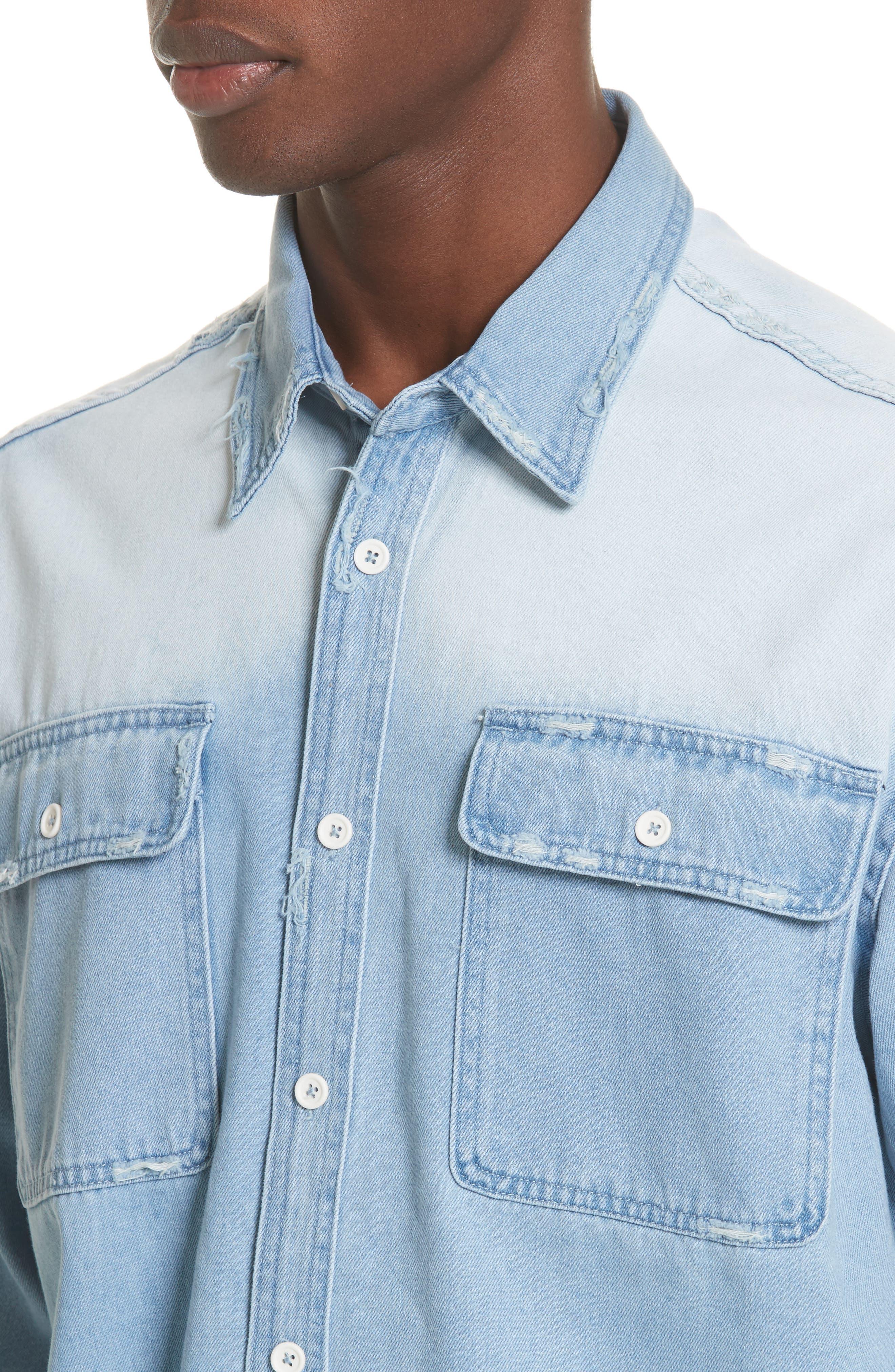 Oversize Distressed Denim Shirt,                             Alternate thumbnail 4, color,                             WASHED DENIM