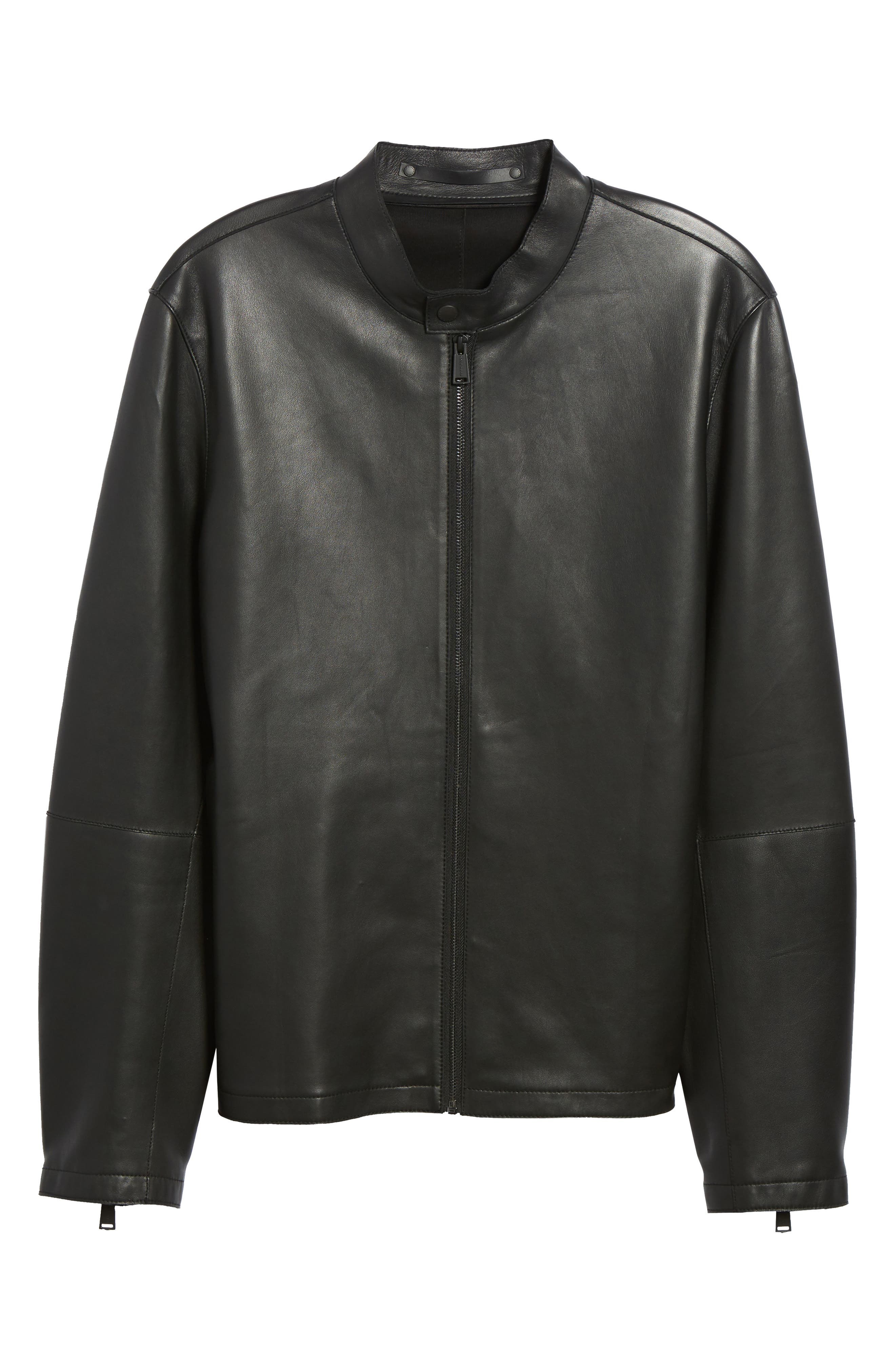 Bonded Leather Jacket,                             Alternate thumbnail 5, color,                             BLACK
