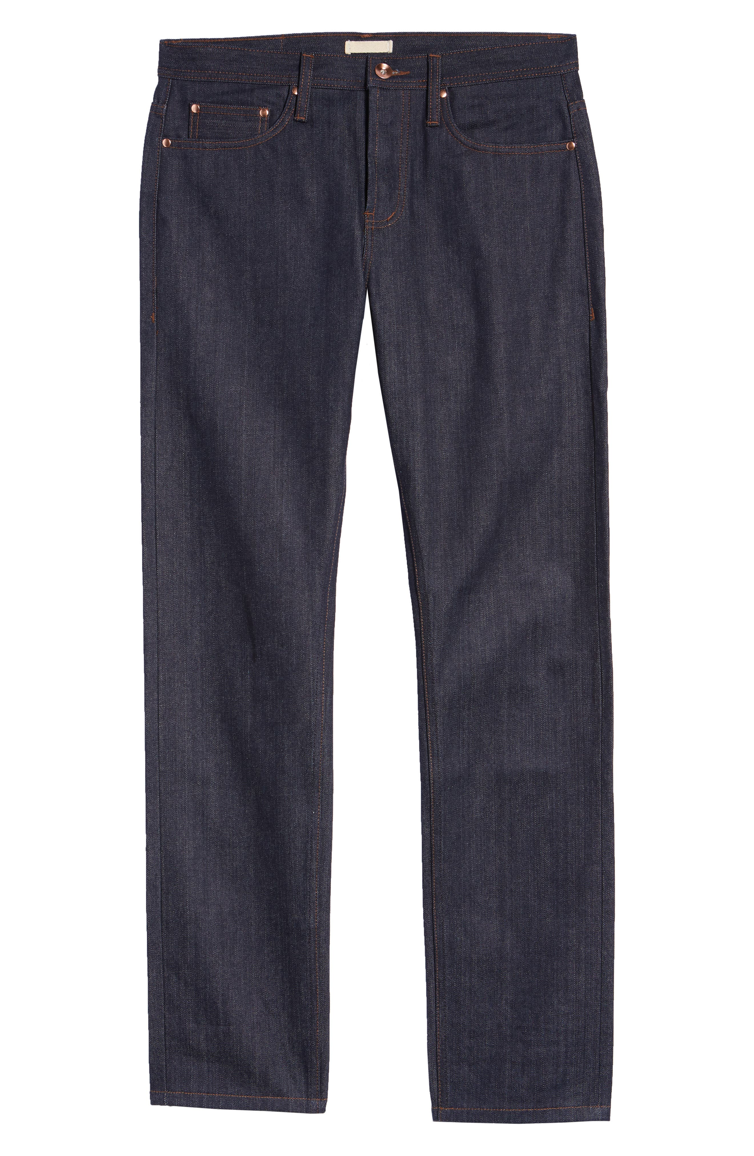 UB201 Tapered Fit Raw Selvedge Jeans,                             Alternate thumbnail 7, color,                             INDIGO