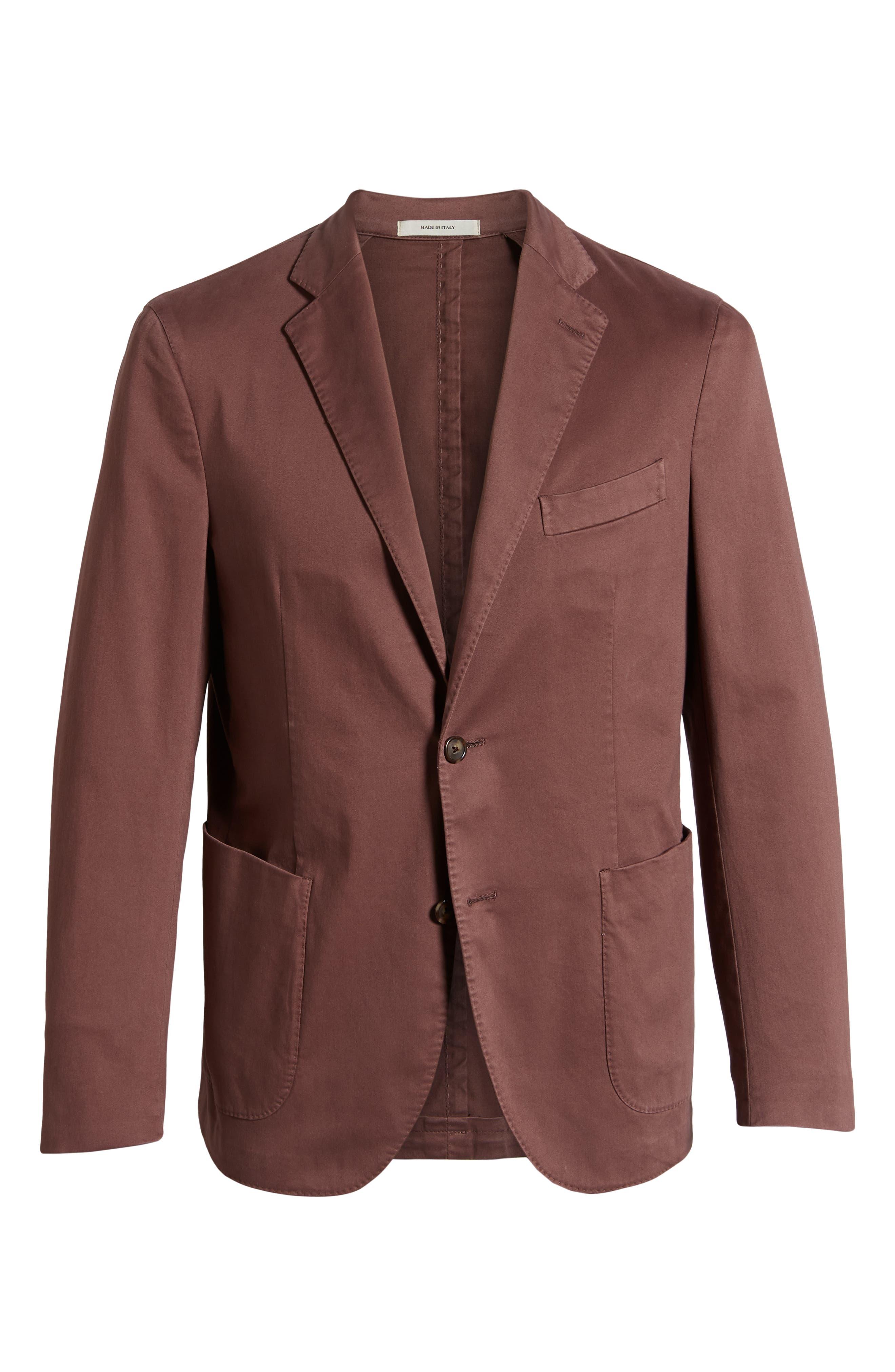 Trim Fit Stretch Cotton Sport Coat,                             Alternate thumbnail 5, color,                             DARK RED