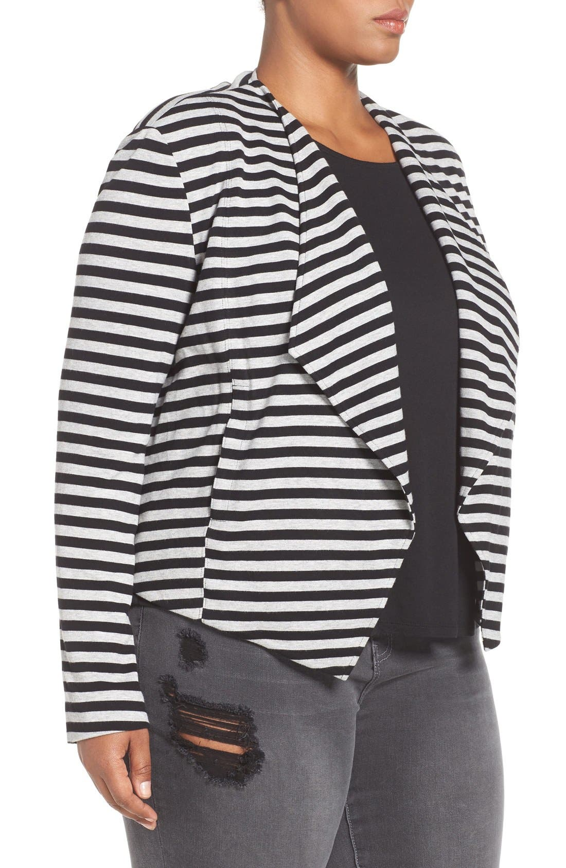 'Veronicka' Stripe Knit Open Front Jacket,                             Alternate thumbnail 3, color,                             BLACK/ HEATHER GREY STRIPE