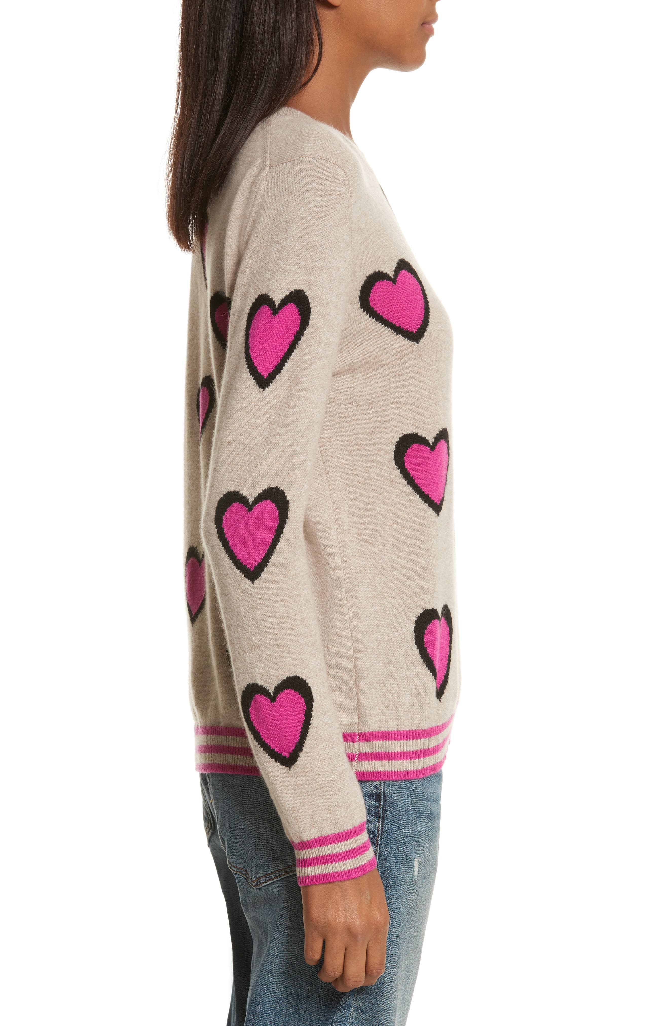 CHINTI & PARKER Heart Burst Cashmere Sweater,                             Alternate thumbnail 3, color,                             250