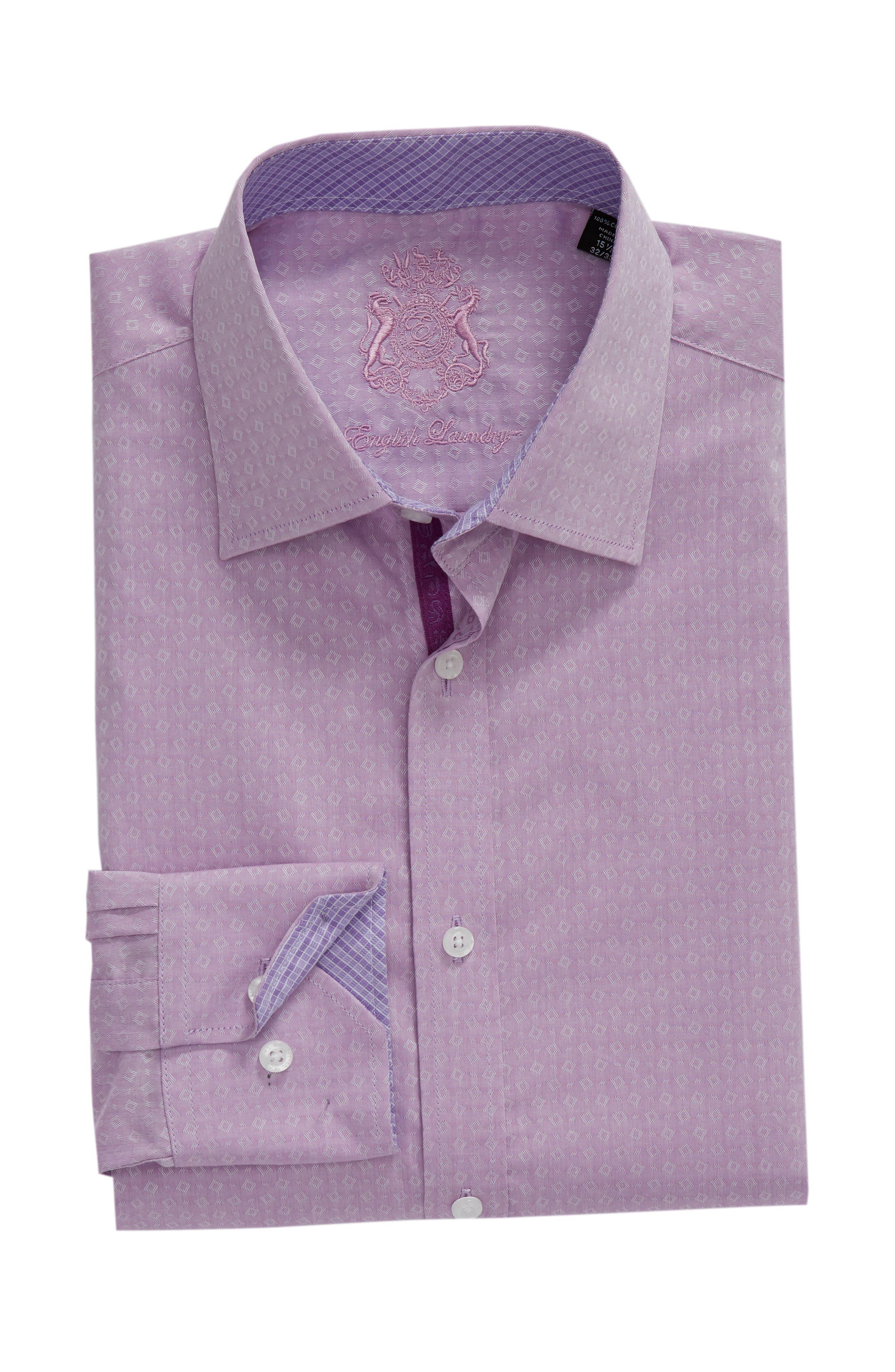 Regular Fit Geometric Dress Shirt,                             Alternate thumbnail 5, color,                             PURPLE