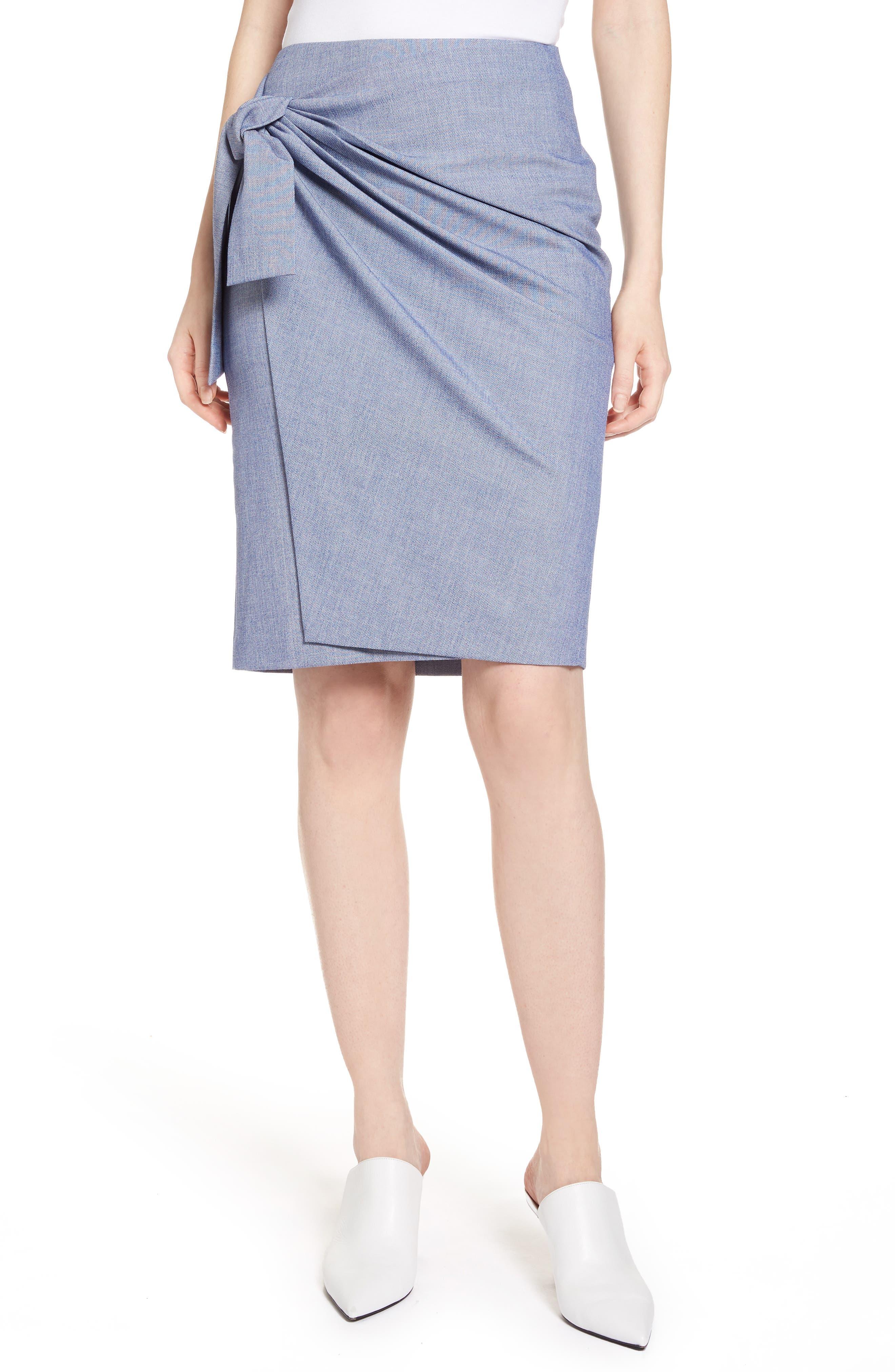 Side Tie Pencil Skirt,                             Main thumbnail 1, color,                             400