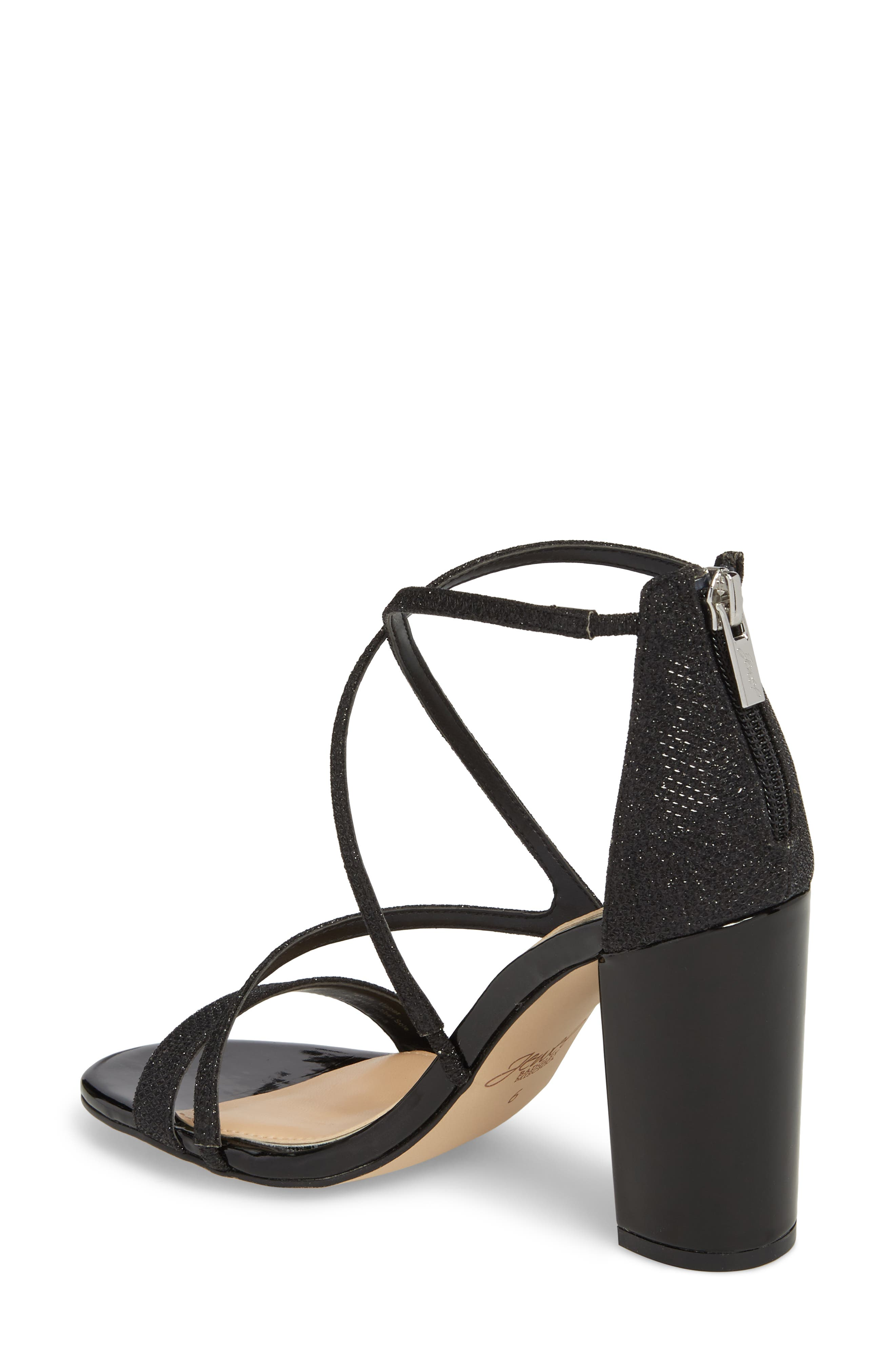Badgley Mischka Gale Block Heel Sandal,                             Alternate thumbnail 2, color,                             BLACK GLITTER FABRIC
