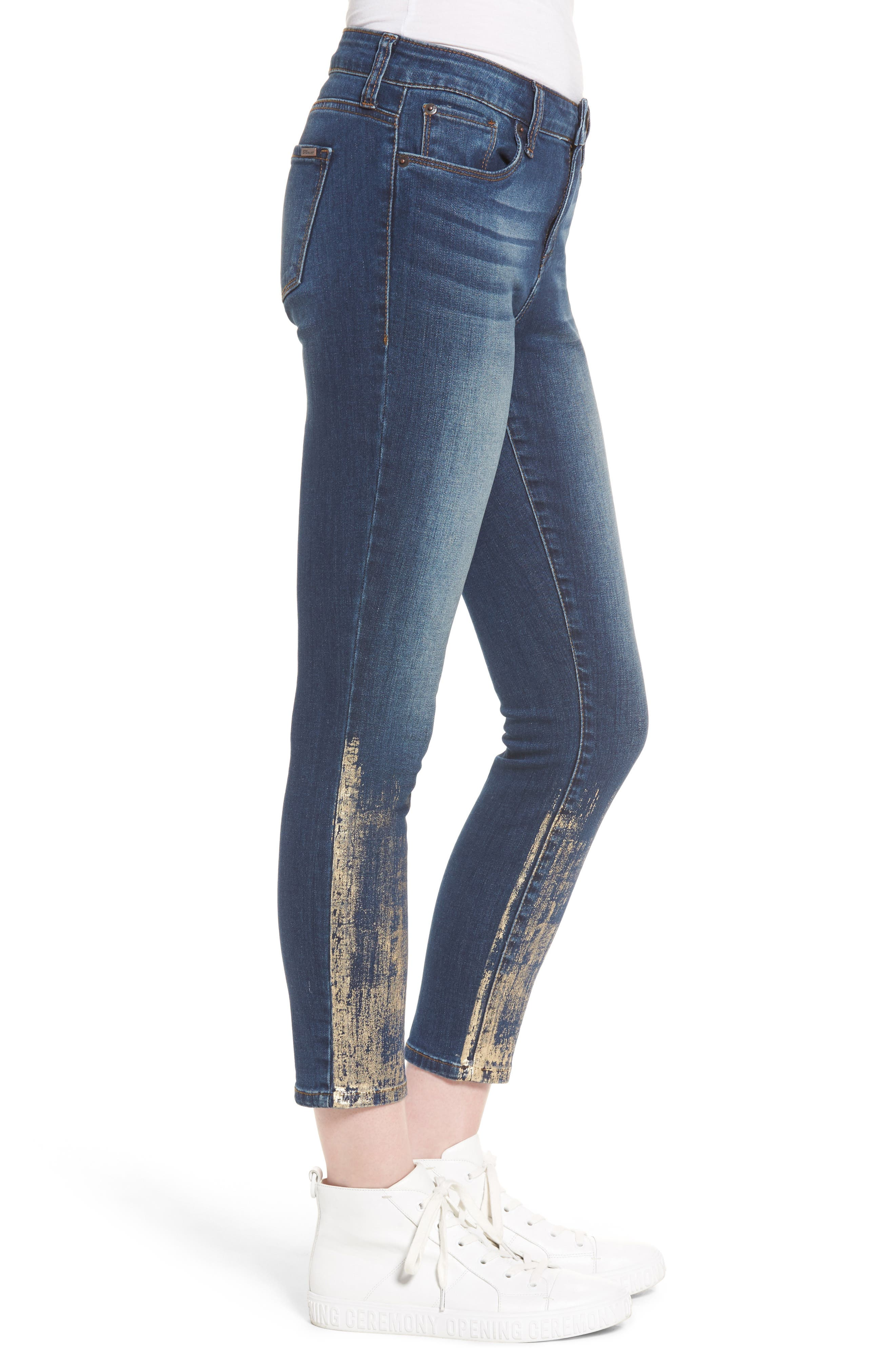 Piper Foil Crop Skinny Jeans,                             Alternate thumbnail 3, color,                             400