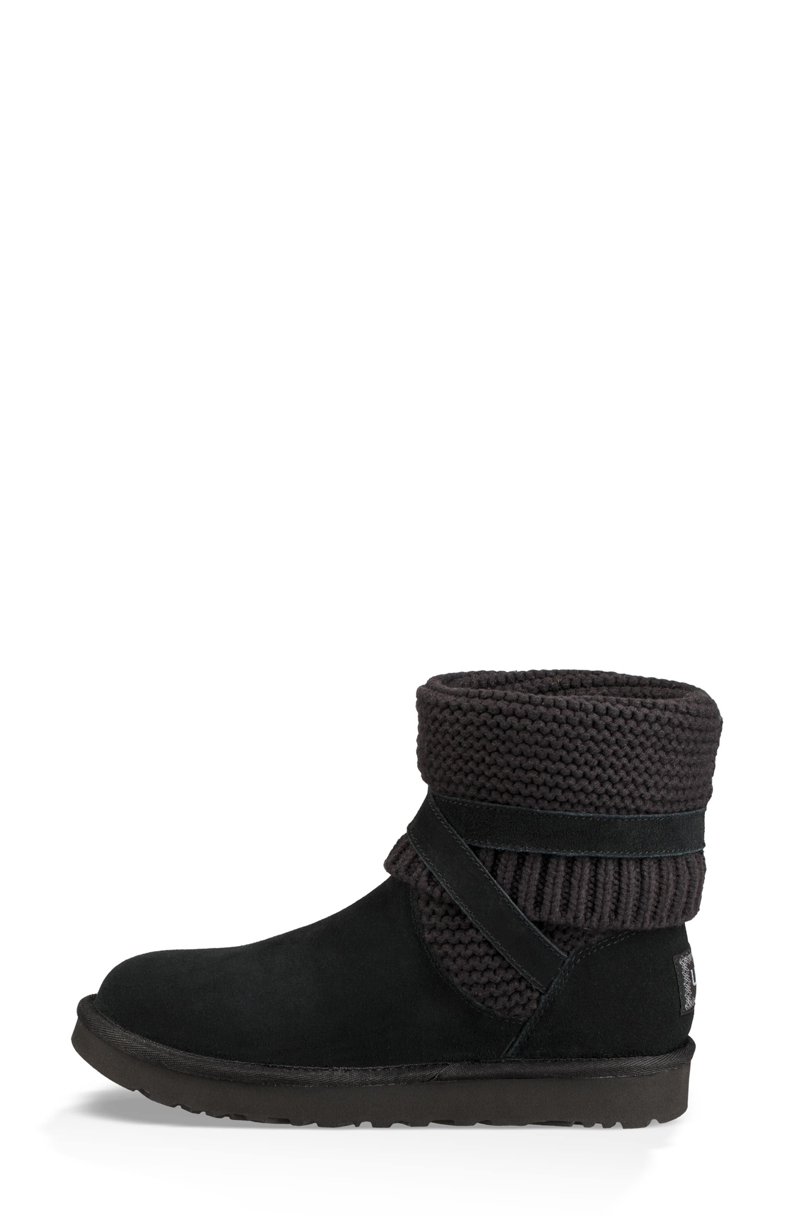 UGGpure<sup>™</sup> Strappy Purl Knit Bootie,                             Alternate thumbnail 10, color,                             BLACK SUEDE